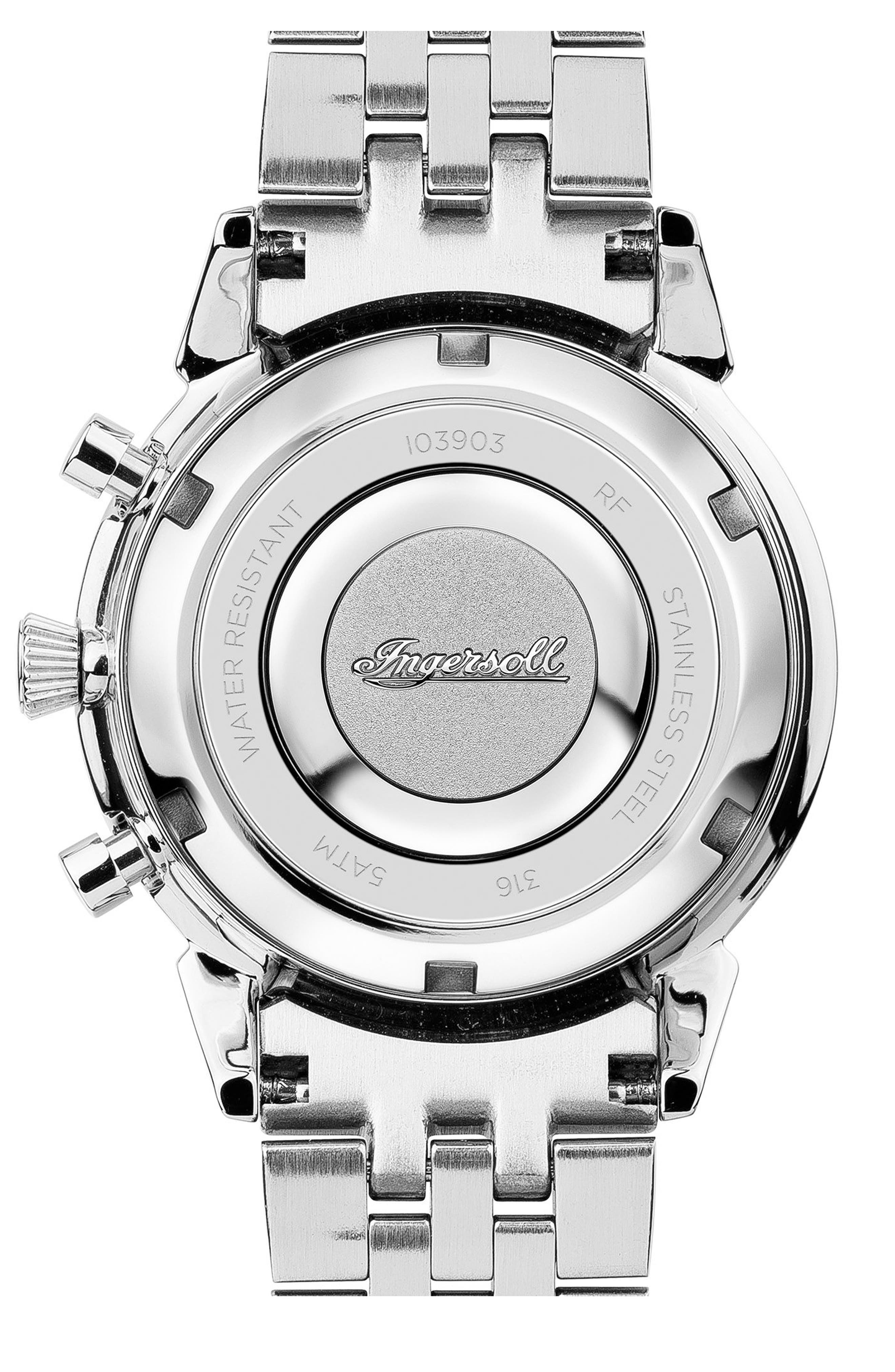 Ingersoll Crystal Accent Chronograph Bracelet Watch, 35mm,                             Alternate thumbnail 2, color,                             Silver