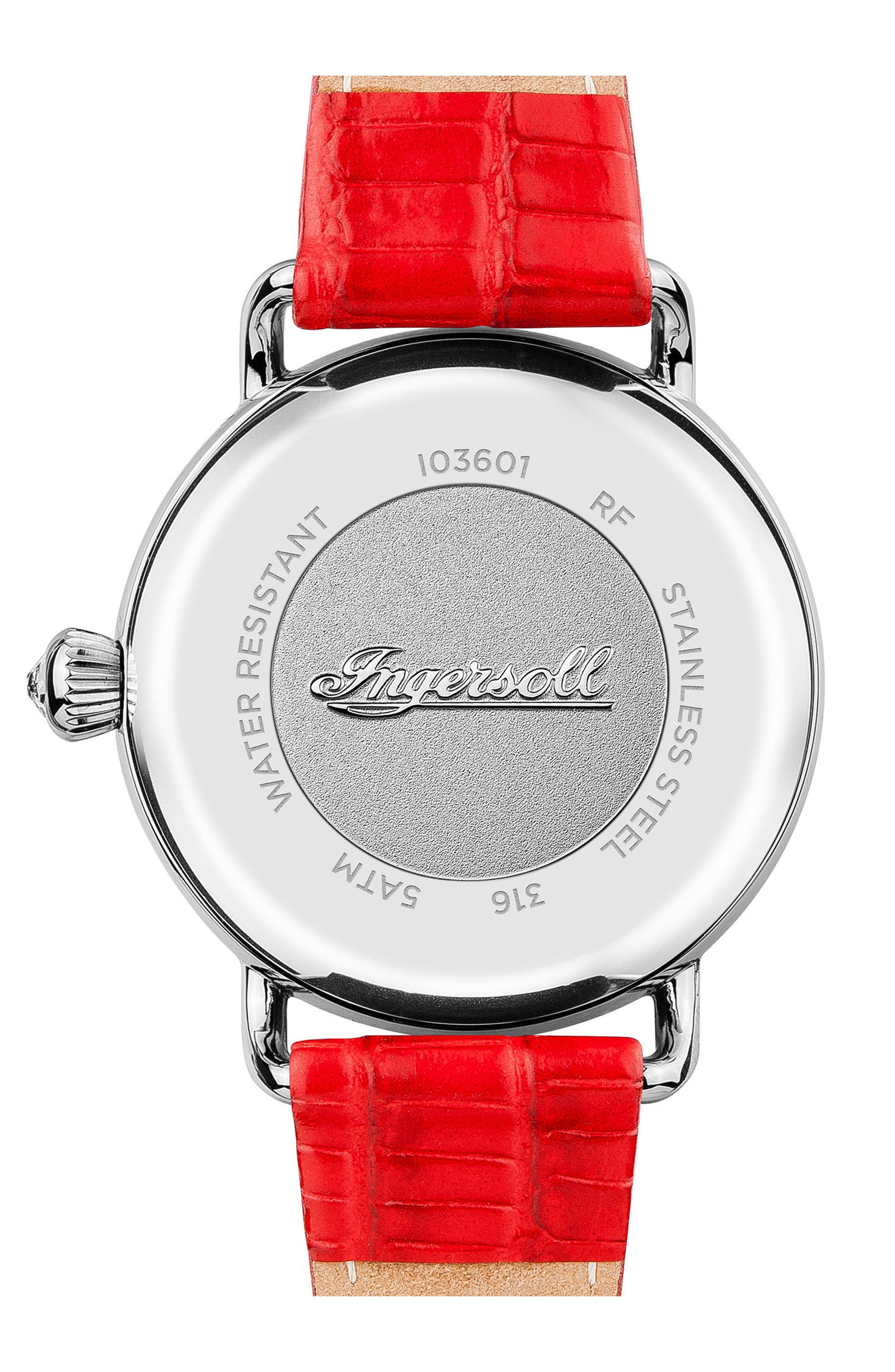 Ingersoll Trenton Leather Strap Watch, 34mm,                             Alternate thumbnail 2, color,                             Red/ Silver
