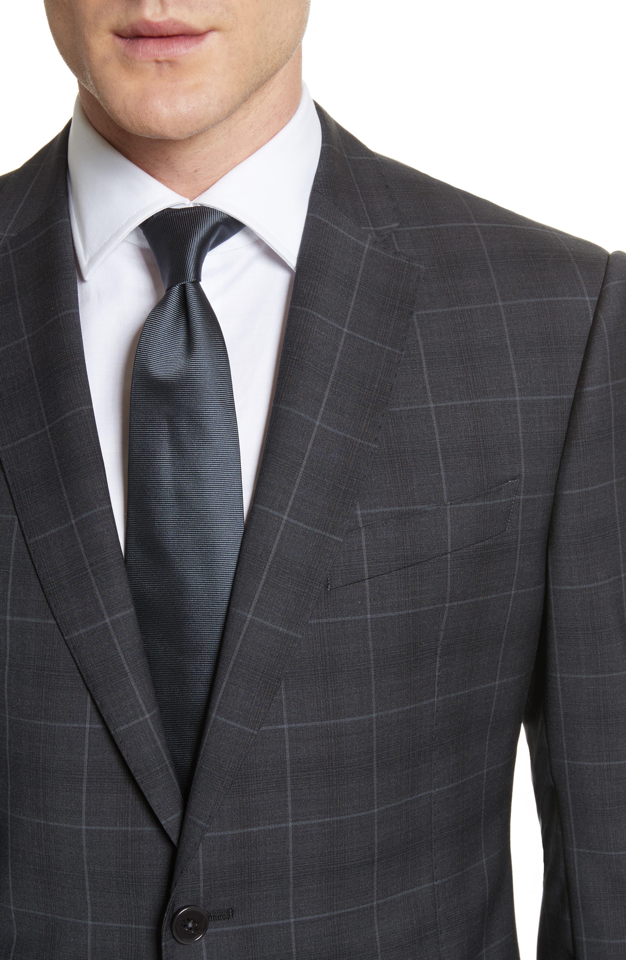 M-Line Trim Fit Plaid Wool Suit,                             Alternate thumbnail 4, color,                             Grey