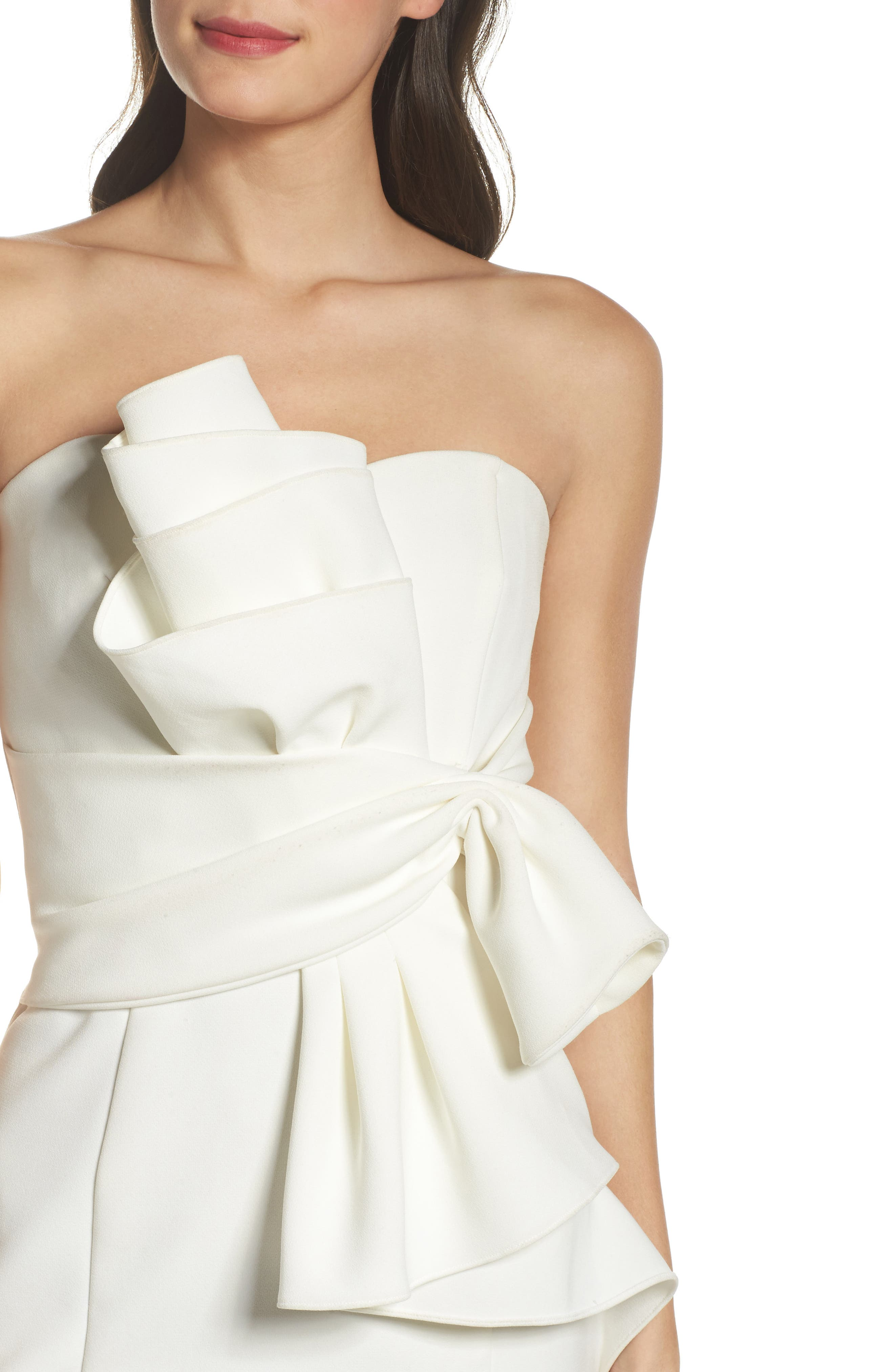 Sculpture Flower Cocktail Dress,                             Alternate thumbnail 4, color,                             Ivory