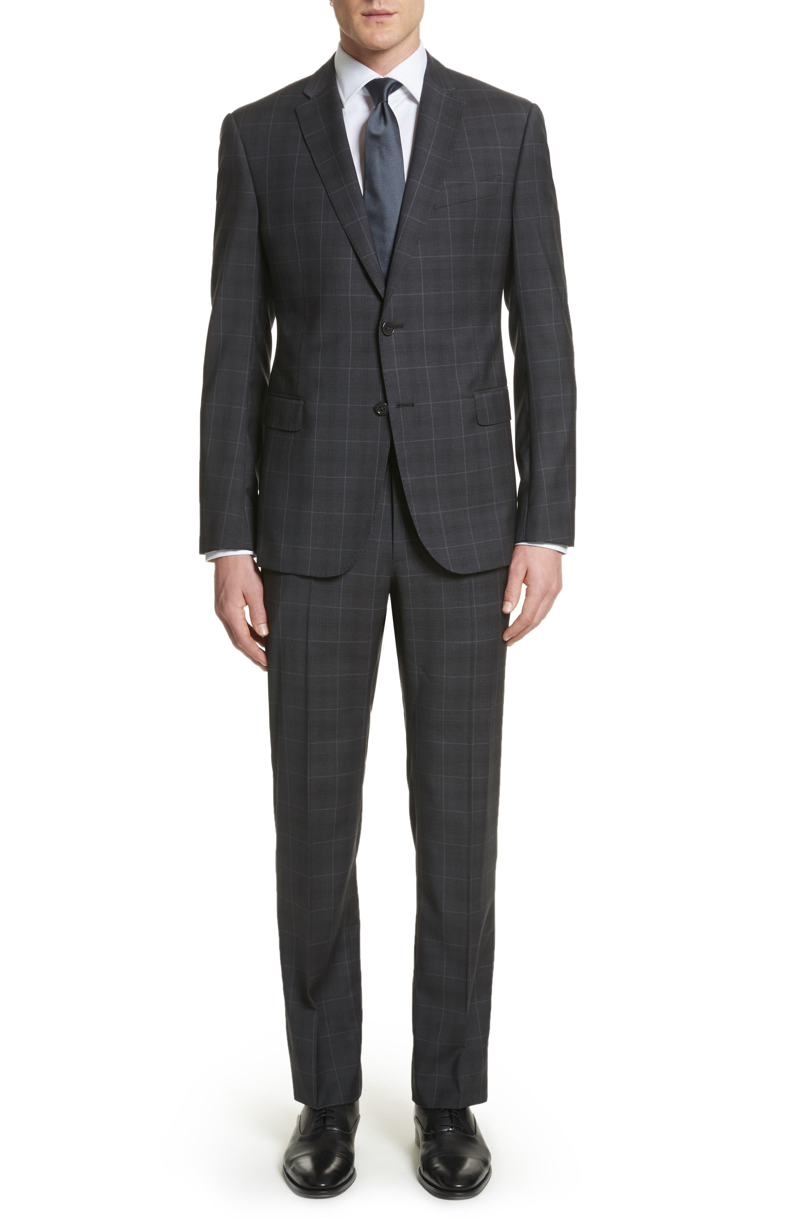 M-Line Trim Fit Plaid Wool Suit,                             Main thumbnail 1, color,                             Grey