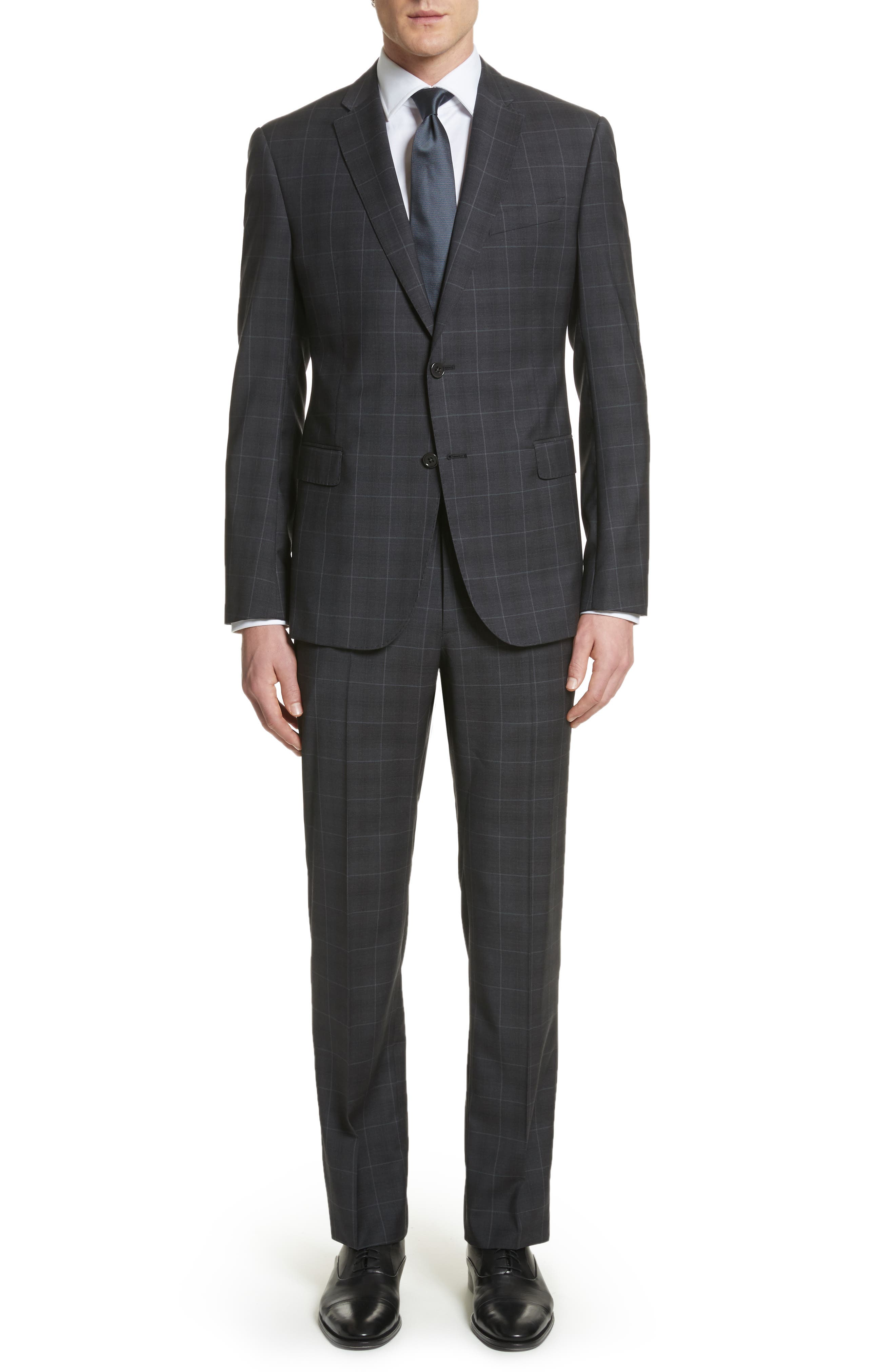 M-Line Trim Fit Plaid Wool Suit,                         Main,                         color, Grey