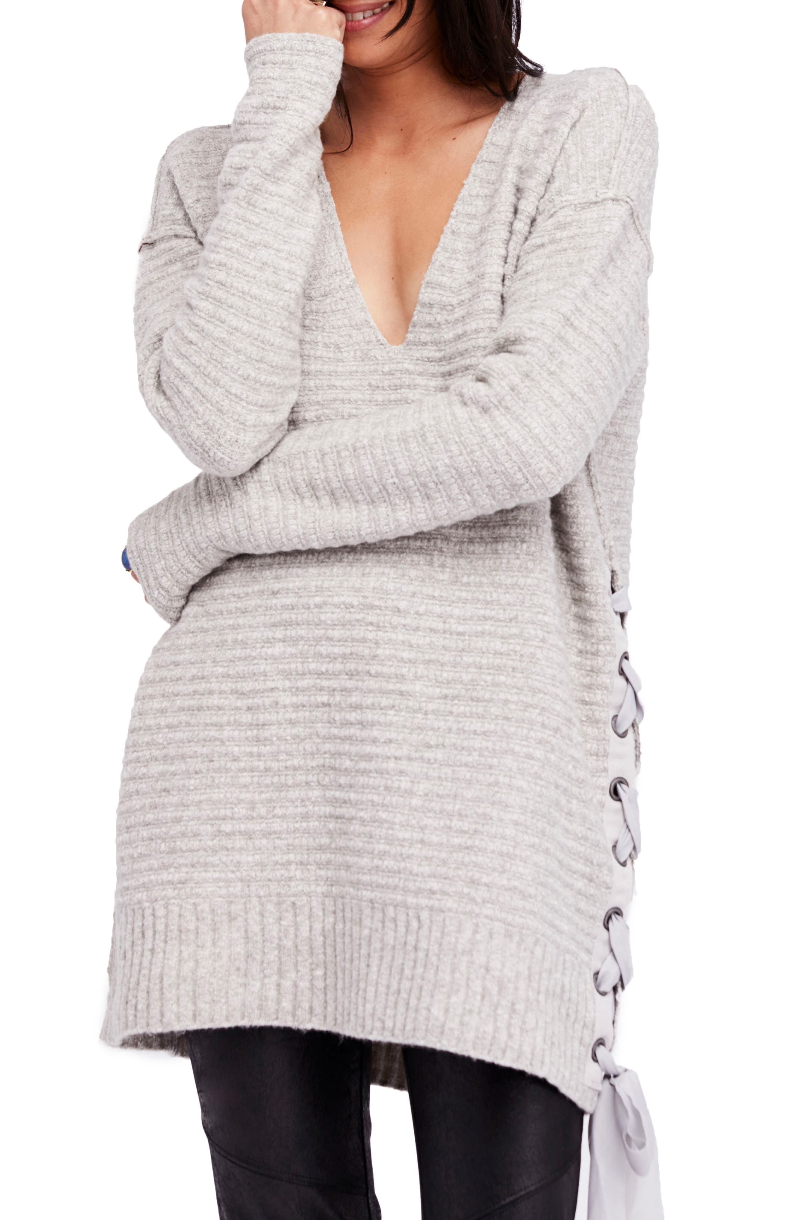 Heart It Laces Sweater,                             Main thumbnail 1, color,                             Grey