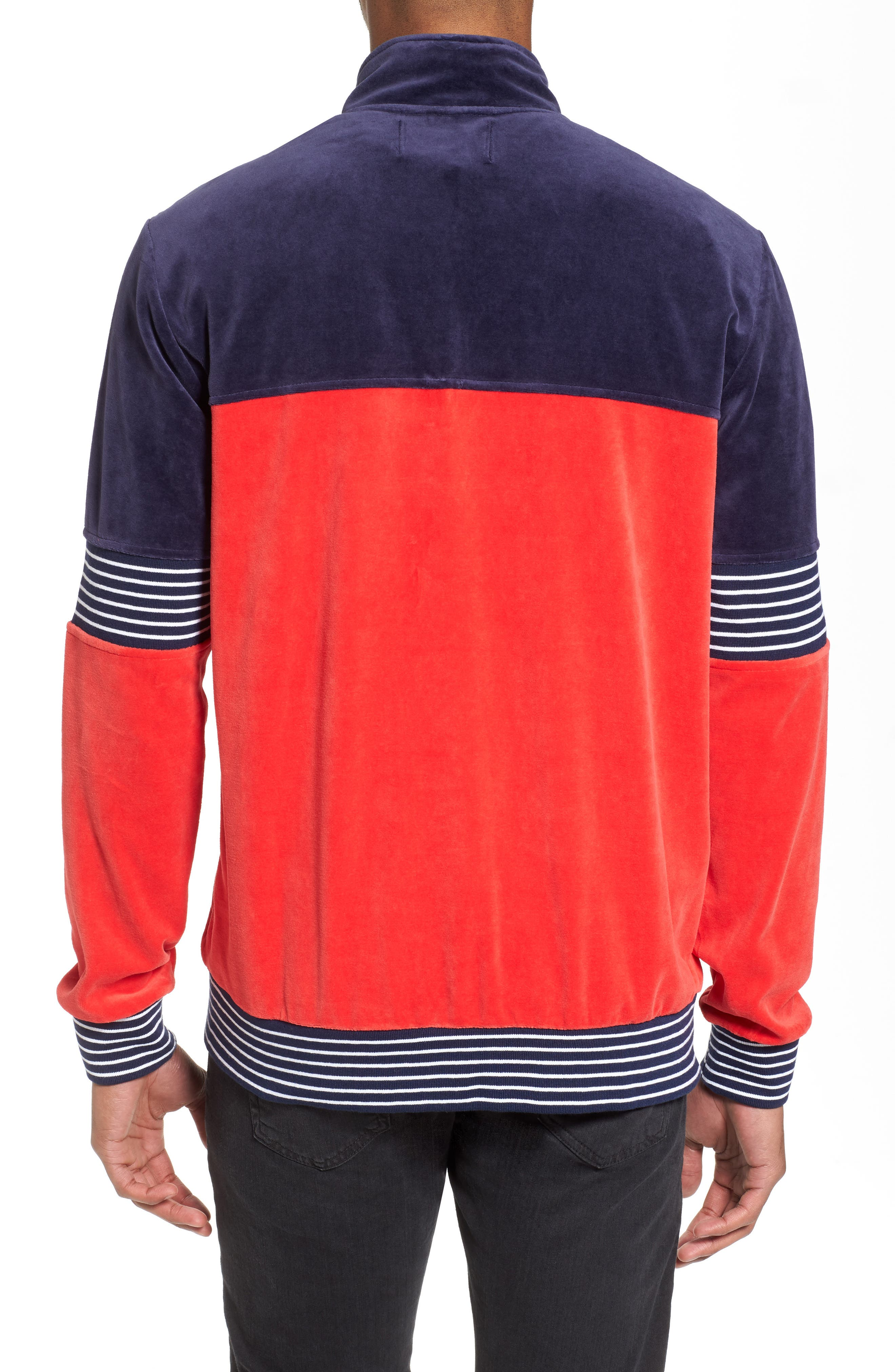 Marcus Velour Track Jacket,                             Alternate thumbnail 2, color,                             Navy/ Chinese Red/ White