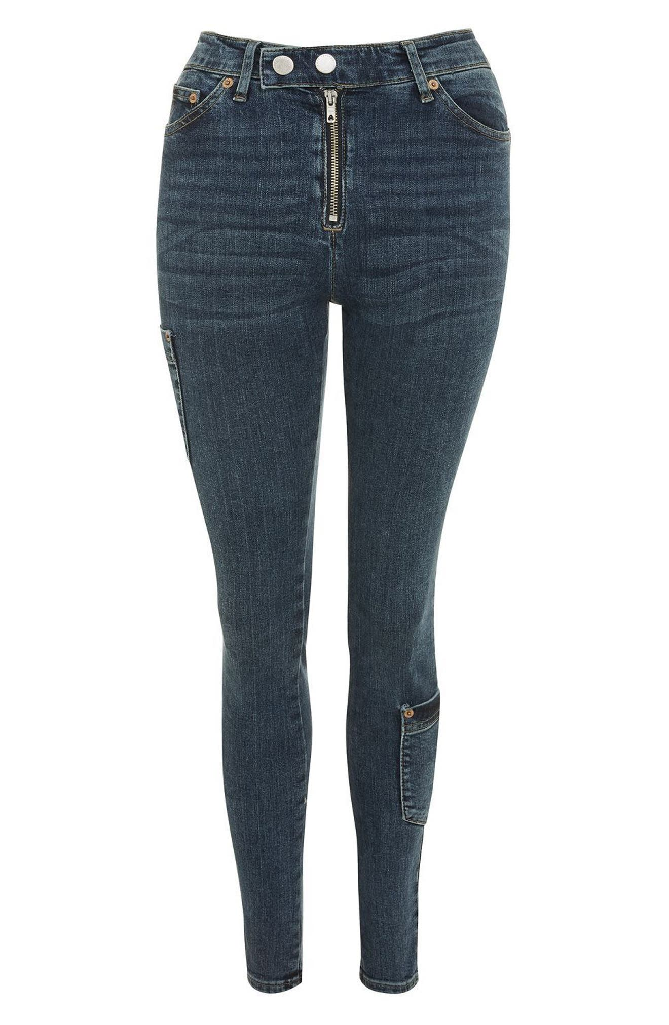 Jamie Utility High Rise Skinny Jeans,                             Alternate thumbnail 3, color,                             Mid Blue Denim