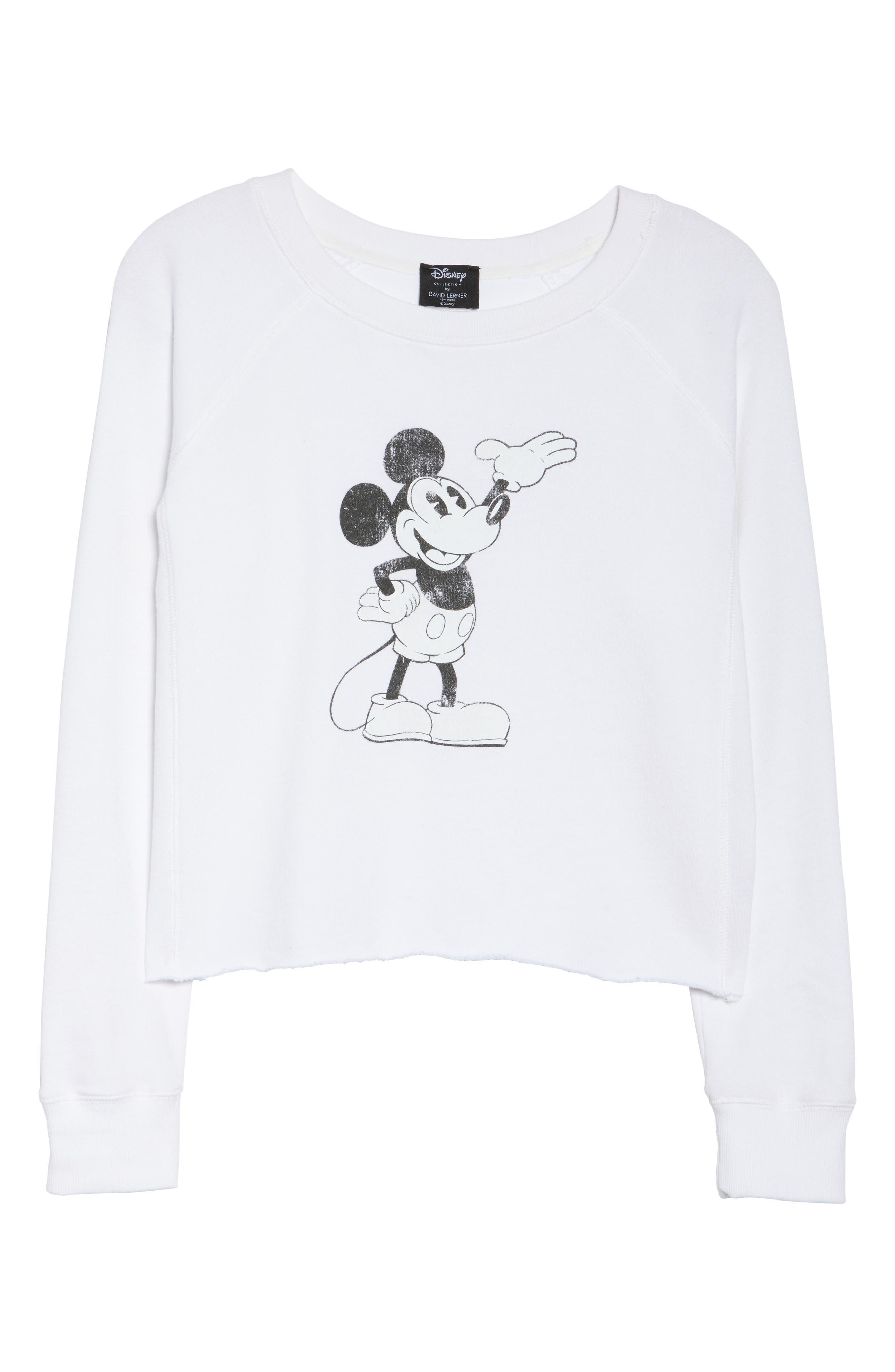 Alternate Image 4  - David Lerner Mickey Mouse Crop Sweatshirt