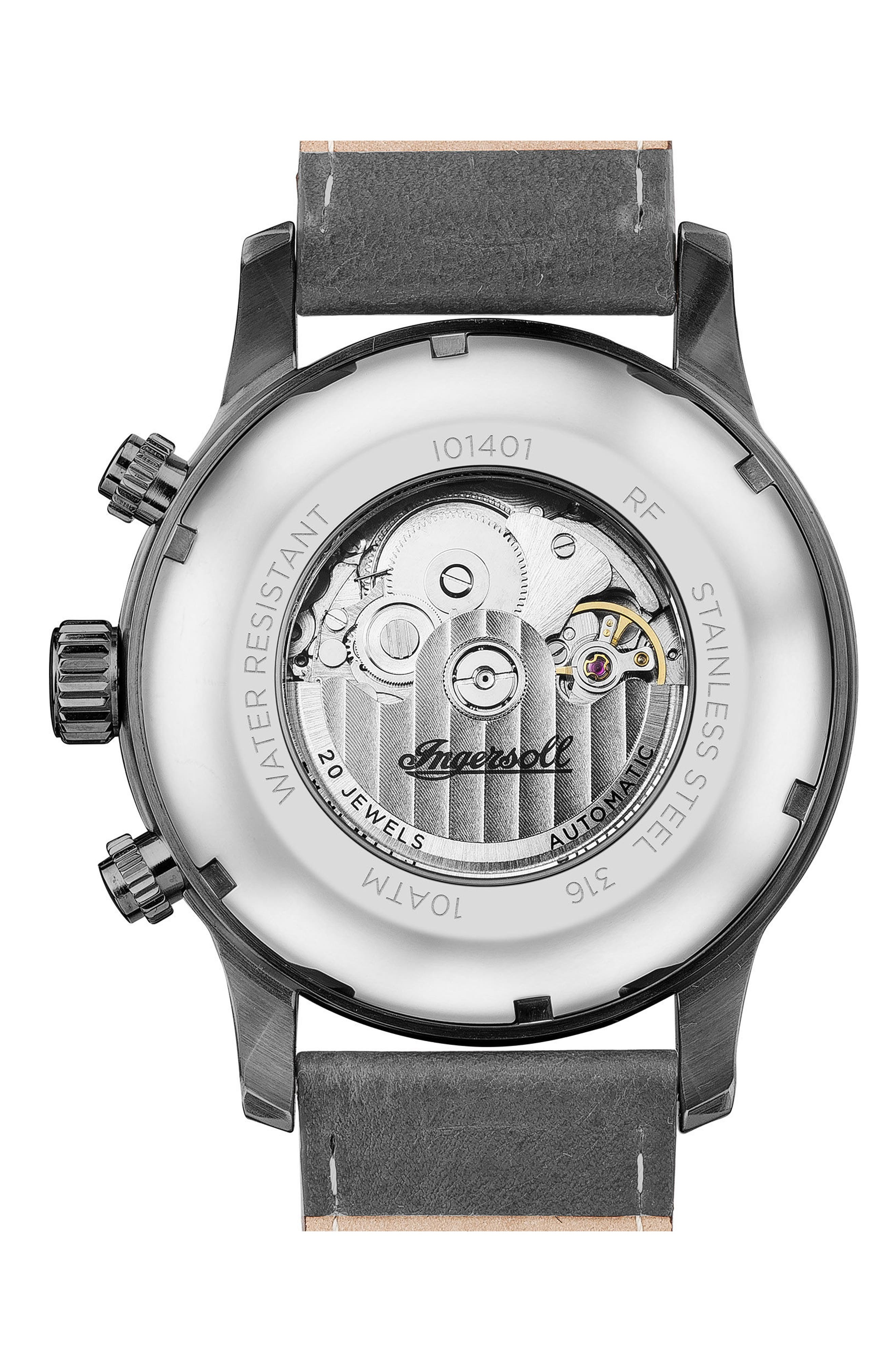 Ingersoll Hatton Automatic Multifunction Leather Strap Watch, 47mm,                             Alternate thumbnail 2, color,                             Grey/ Gunmetal