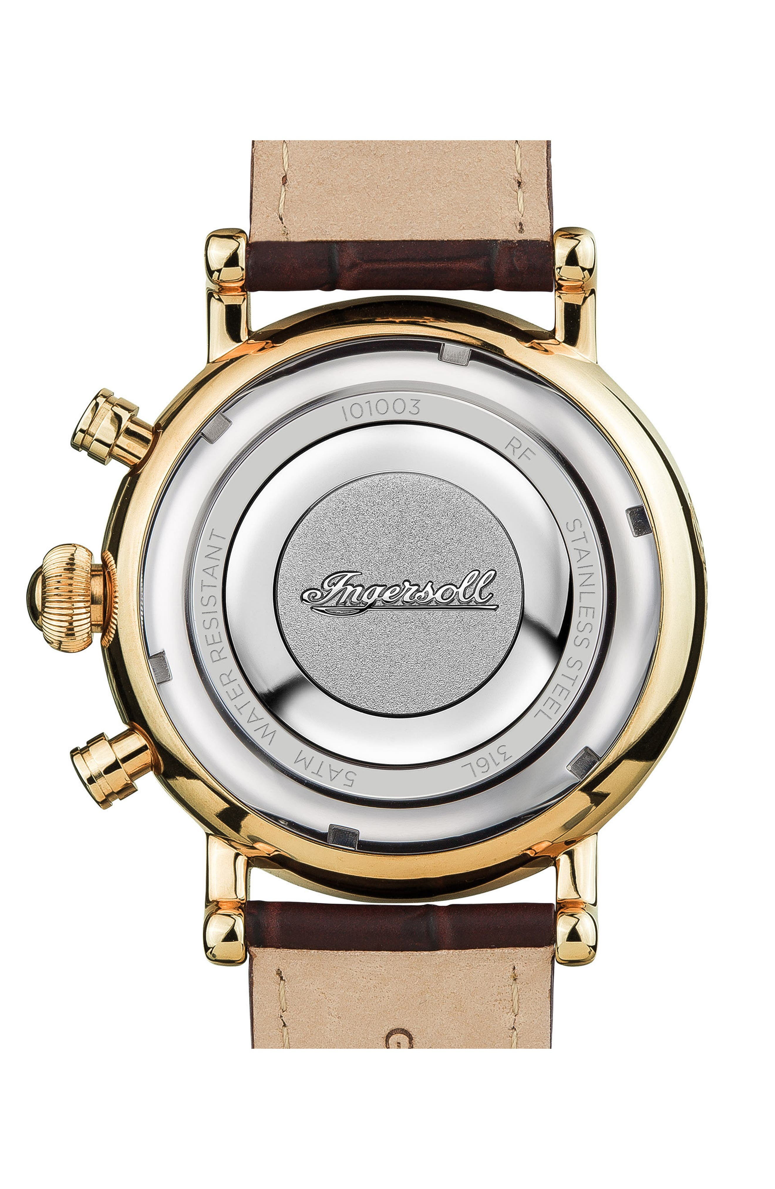 Ingersoll Daniells Chronograph Leather Strap Watch, 44mm,                             Alternate thumbnail 2, color,                             Brown/ Gold