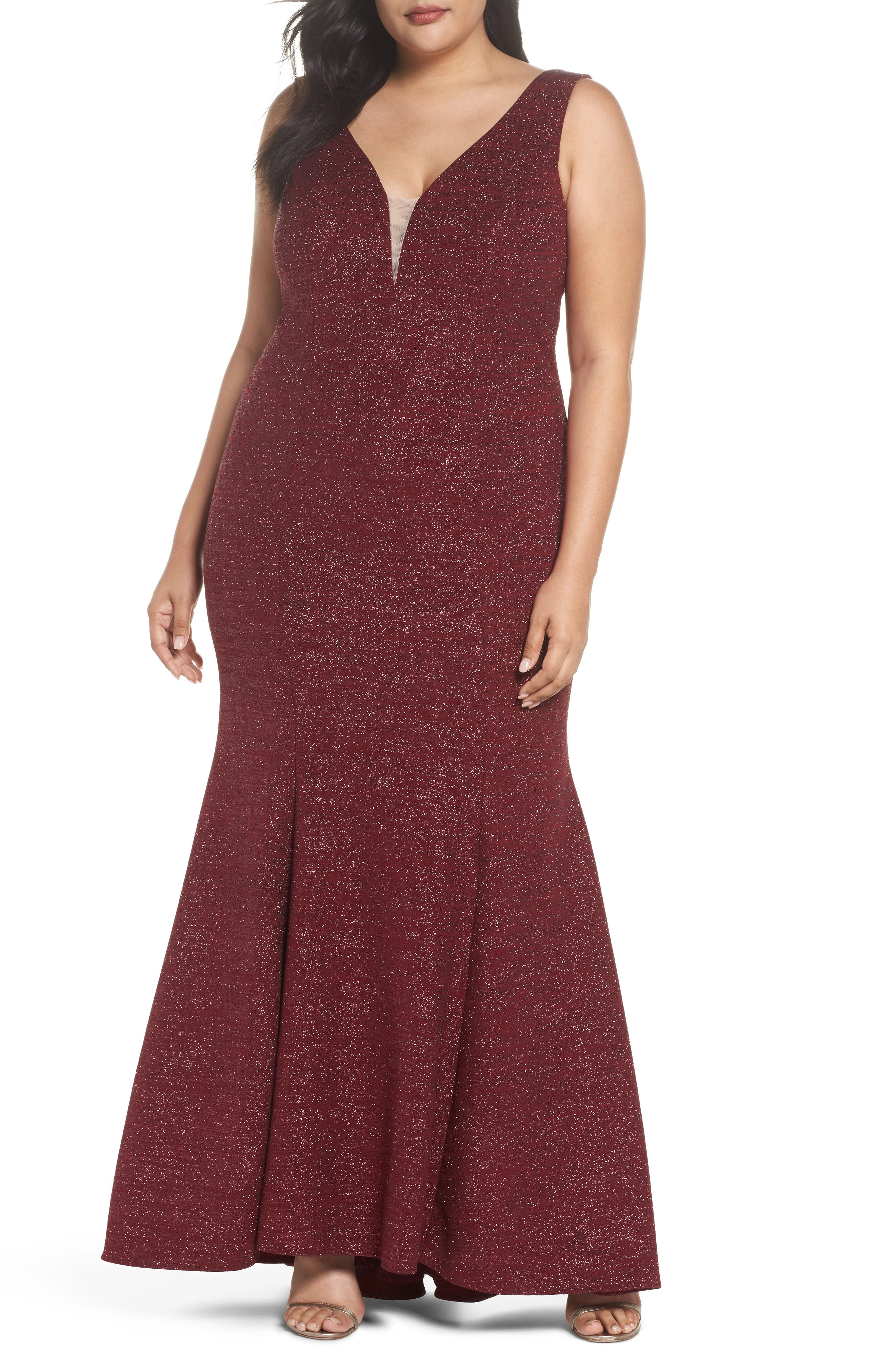 Metallic Knit Mermaid Gown,                         Main,                         color, Burgundy