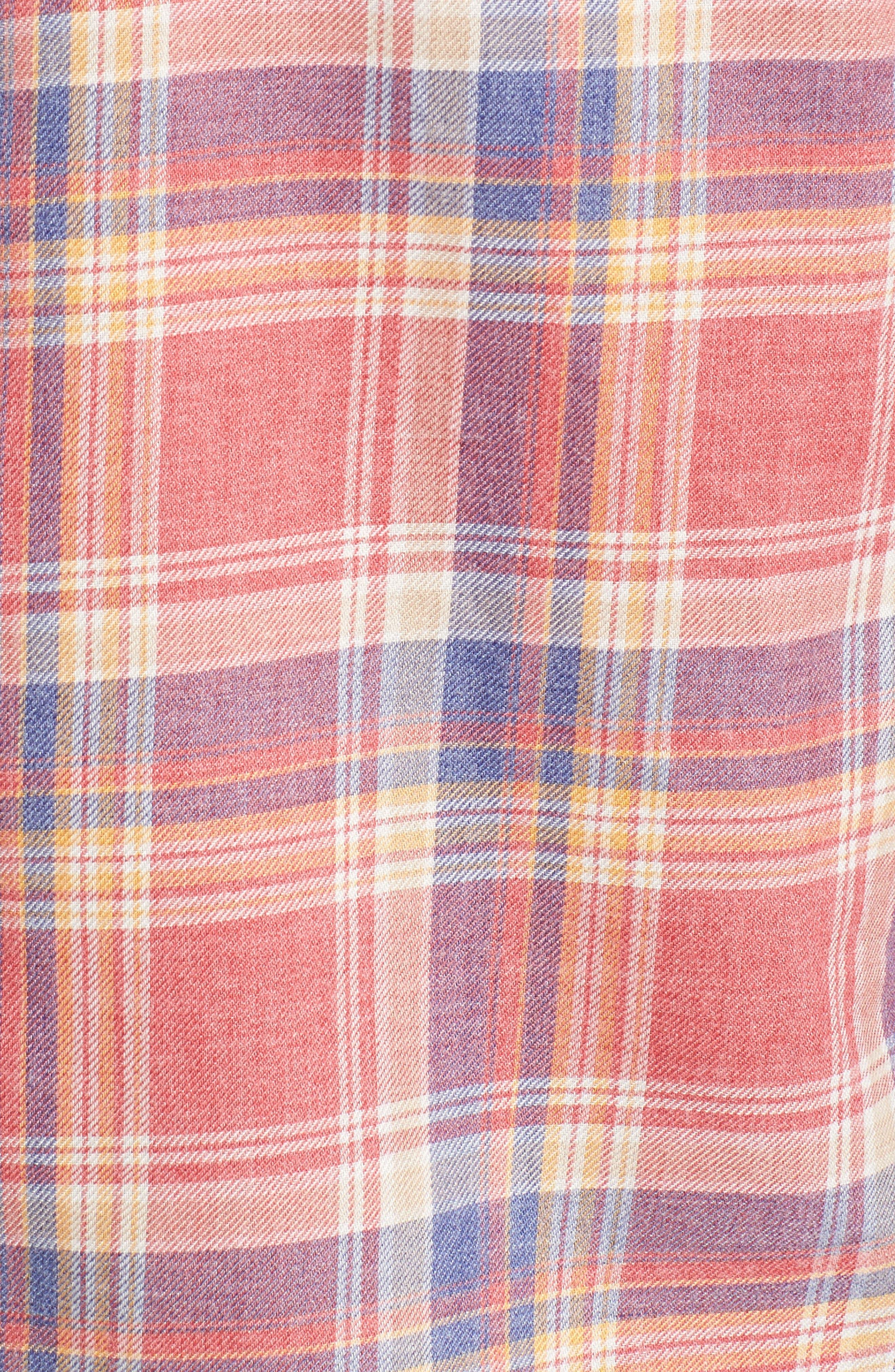 Fray Hem Plaid Flannel Shirt,                             Alternate thumbnail 5, color,                             Dark Pink Check
