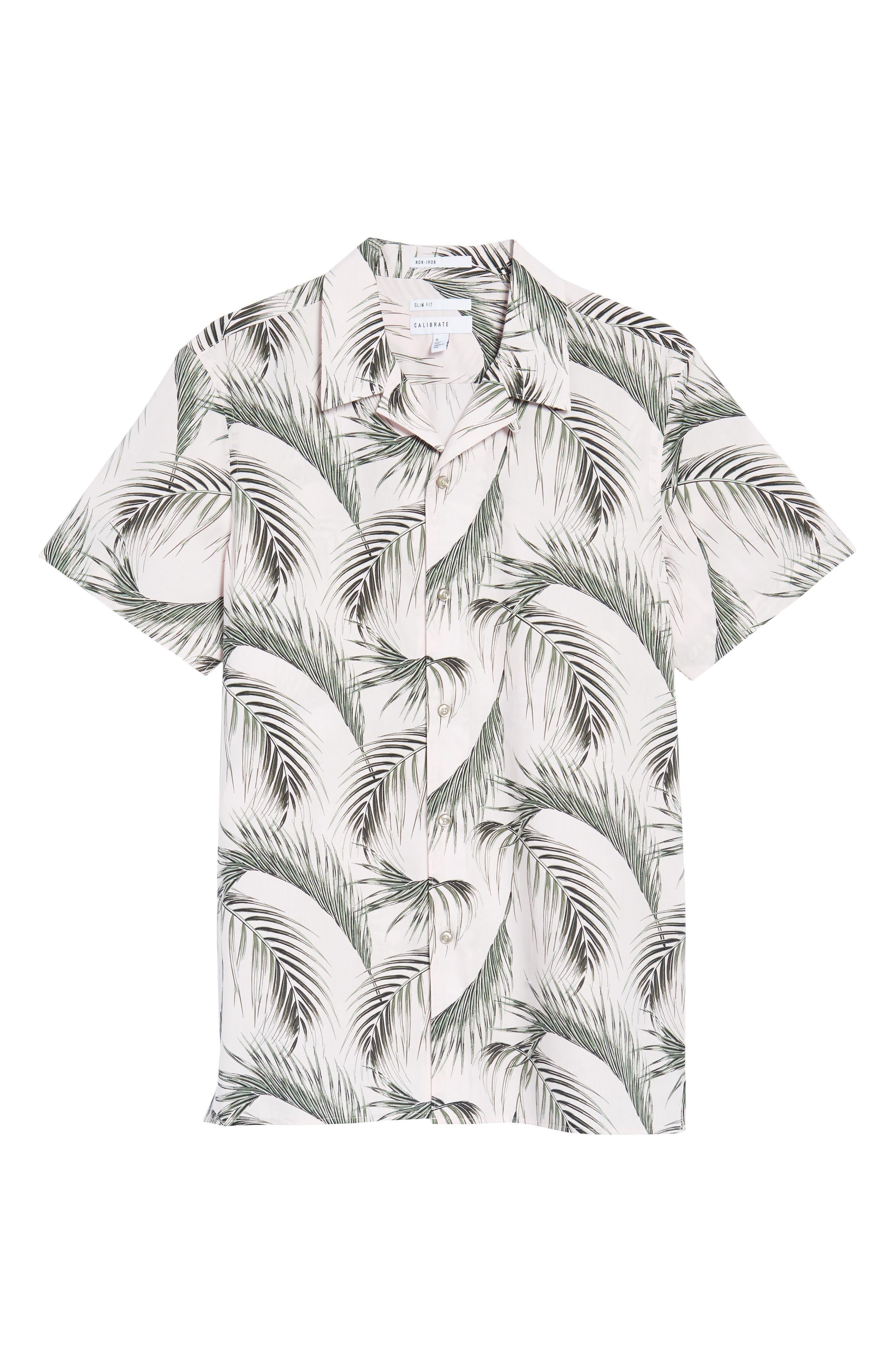 Slim Fit Short Sleeve Print Camp Shirt,                             Alternate thumbnail 6, color,                             Pink Pretty Palms