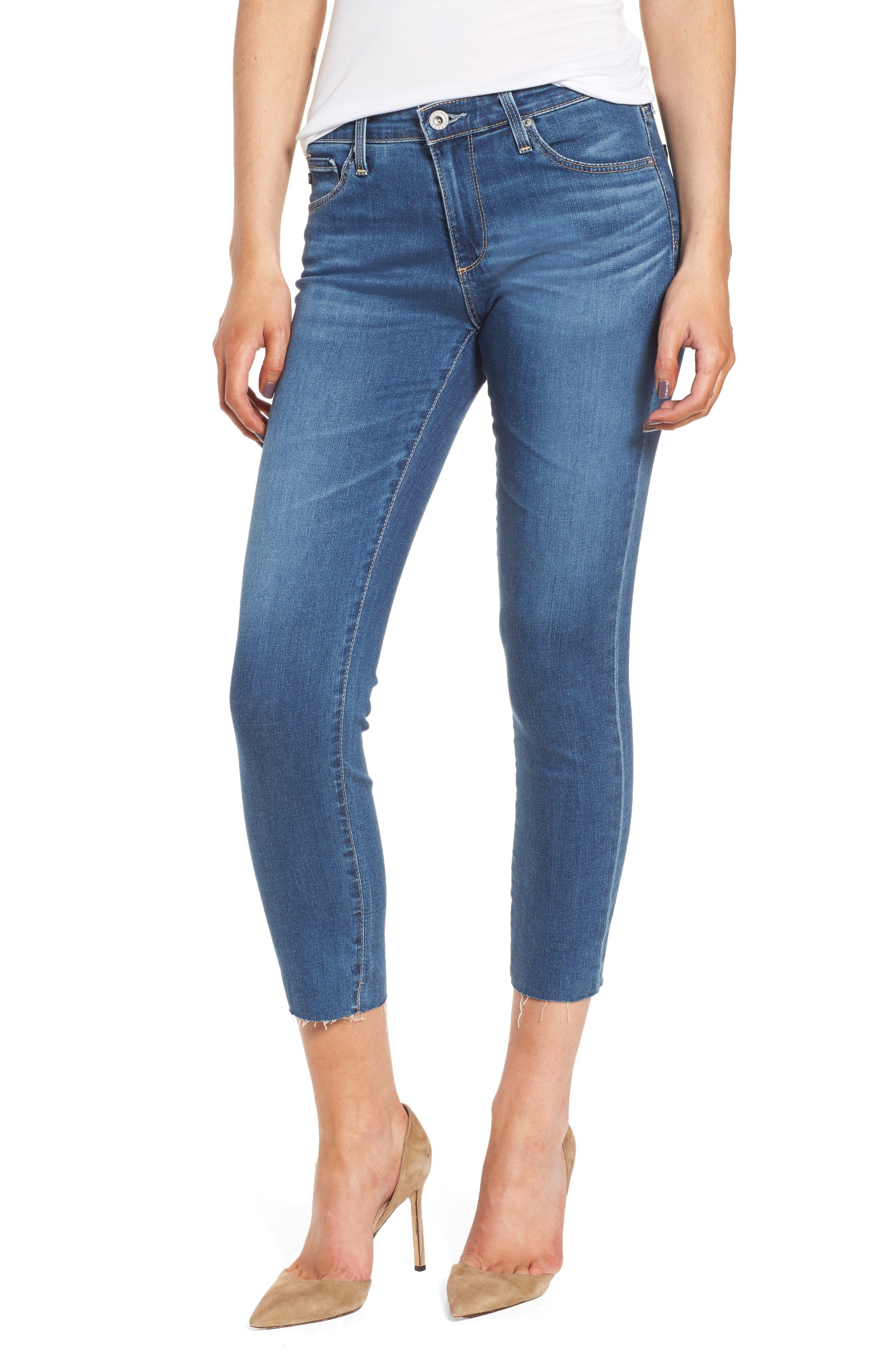 Alternate Image 1 Selected - AG Prima Crop Skinny Jeans (Indigo Viking)