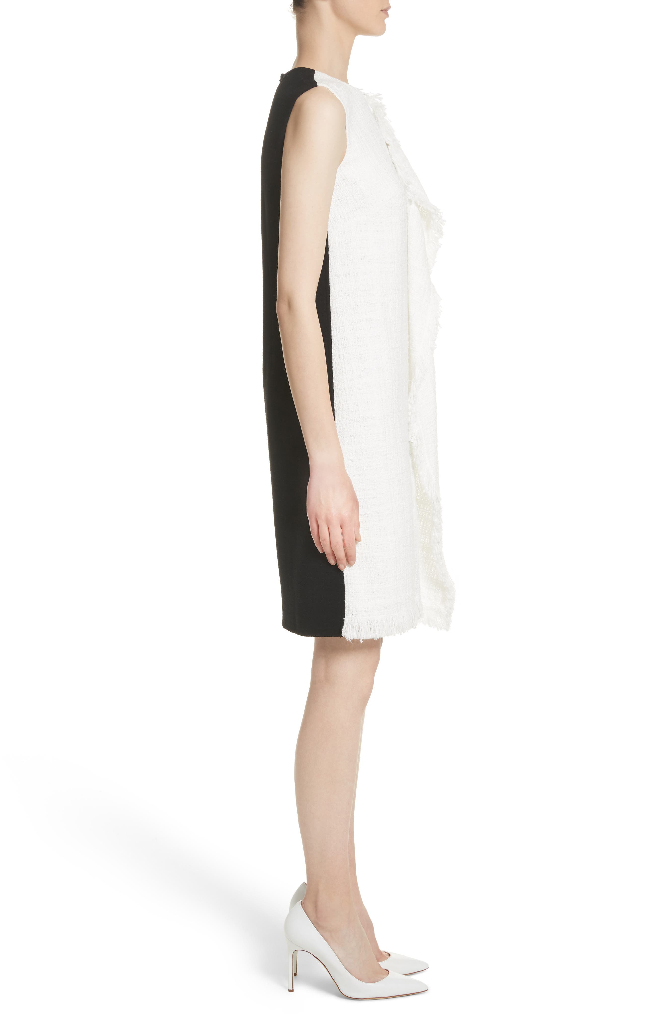 Cascade Tweed Shift Dress,                             Alternate thumbnail 3, color,                             White/ Black