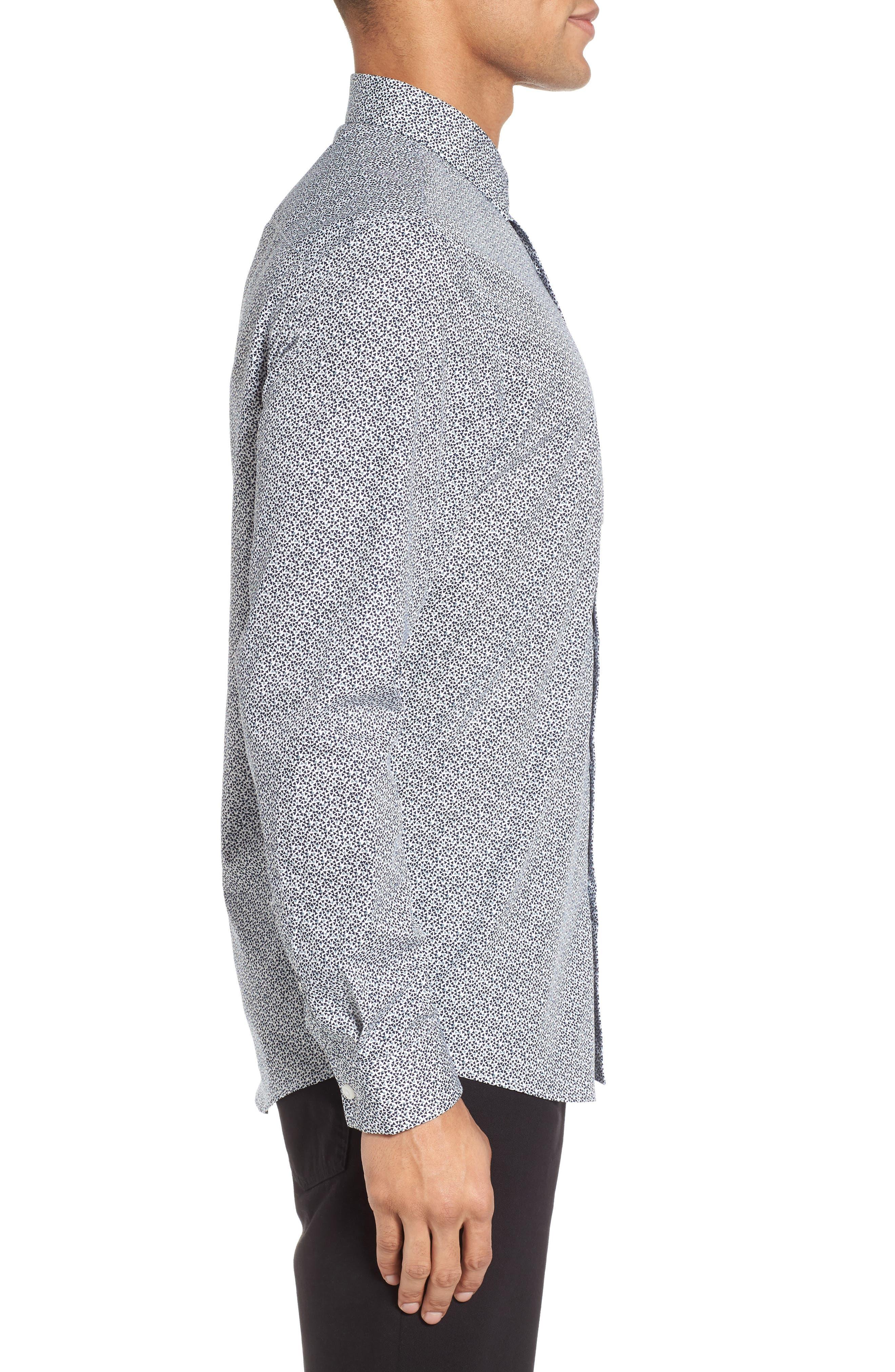 Trim Fit Geometric Sport Shirt,                             Alternate thumbnail 4, color,                             Navy Blue Scatter Triangles