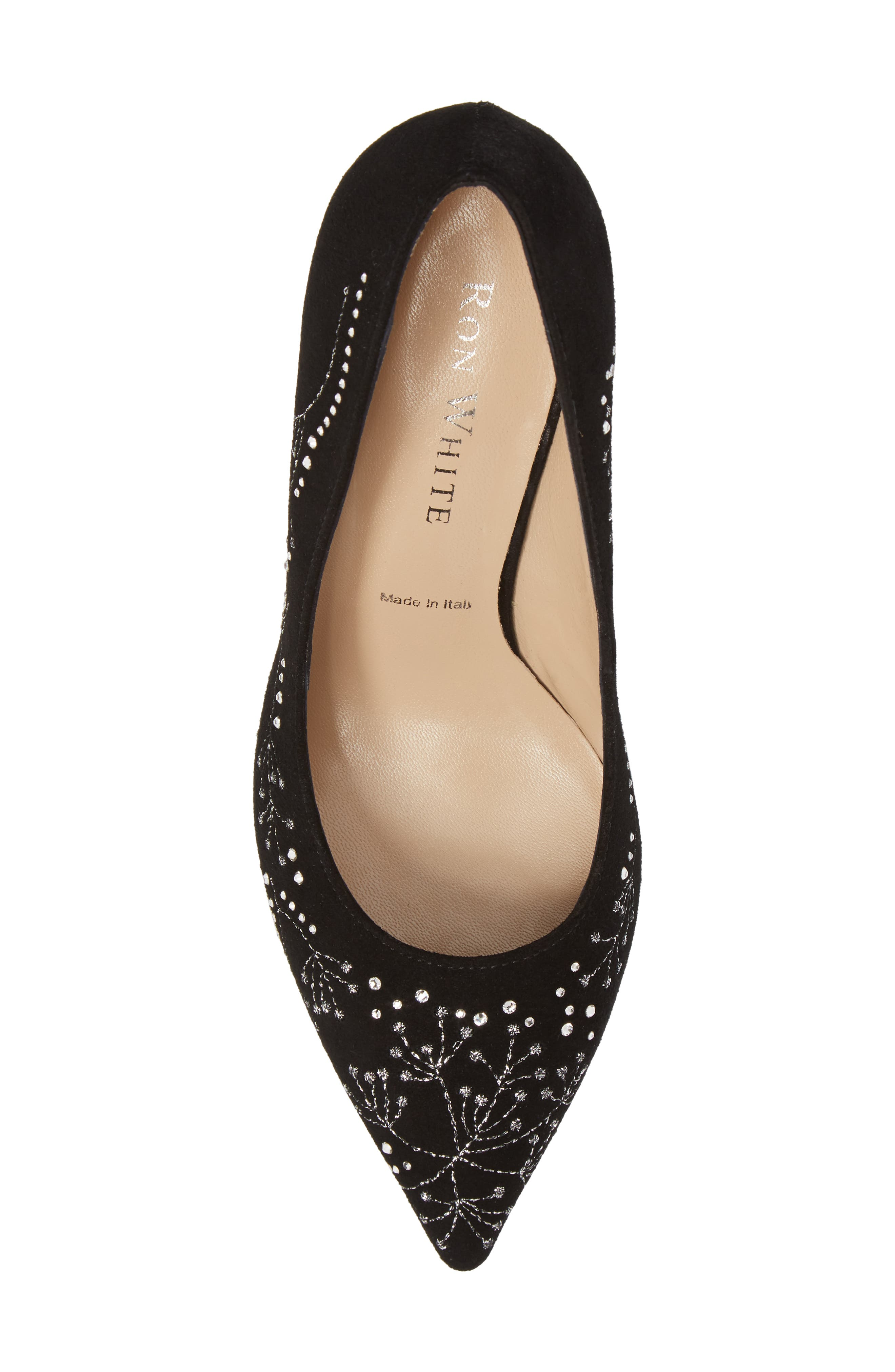 Carla Crystal Embellished Pump,                             Alternate thumbnail 5, color,                             Onyx Suede