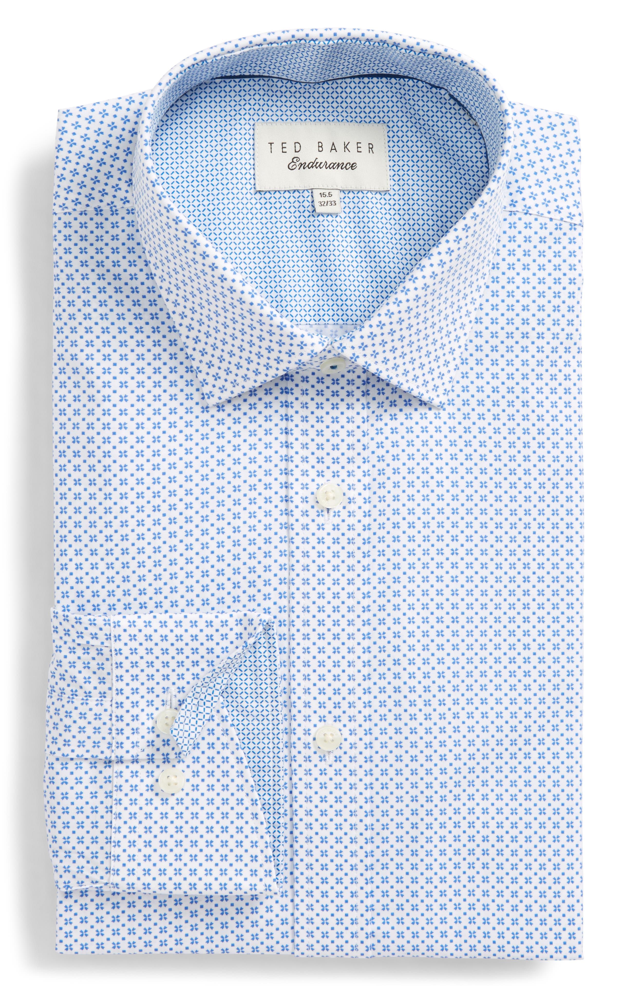 Ted Baker London Trim Fit Geometric Dress Shirt