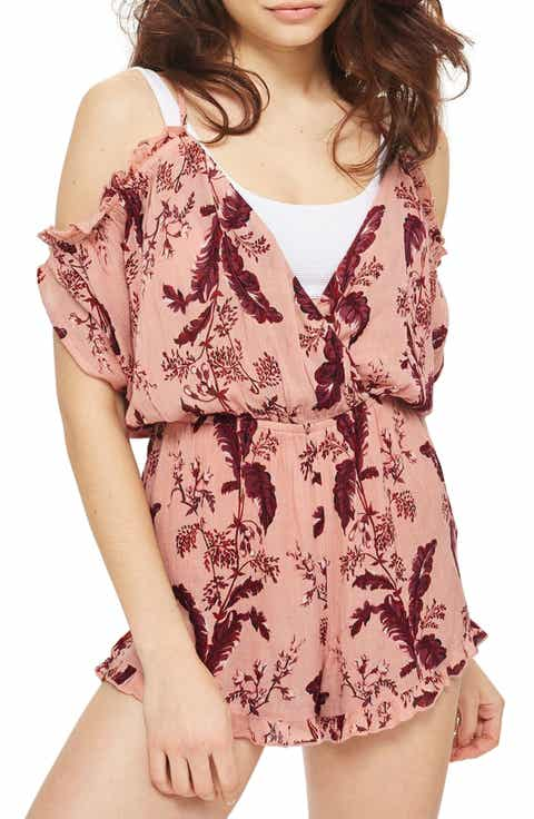 Topshop Floral Cold Shoulder Romper