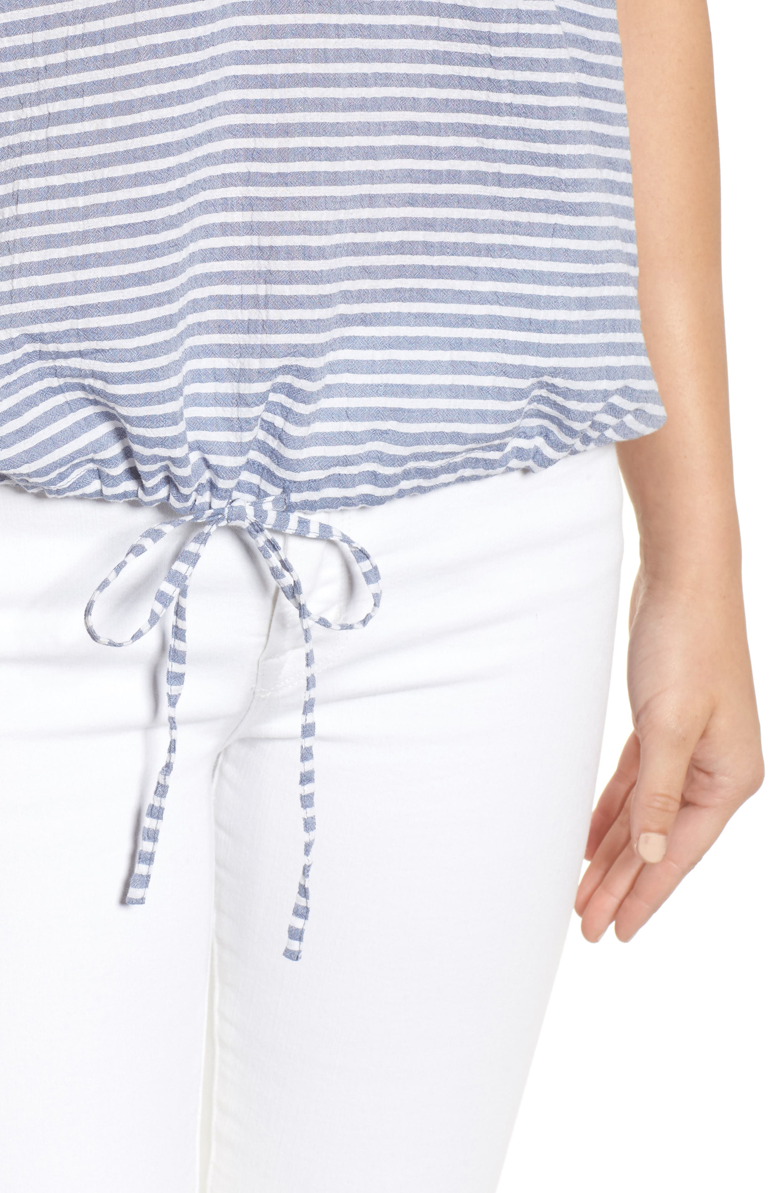 Tie Waist Stripe Seersucker Top,                             Alternate thumbnail 4, color,                             Blue- White Stripe