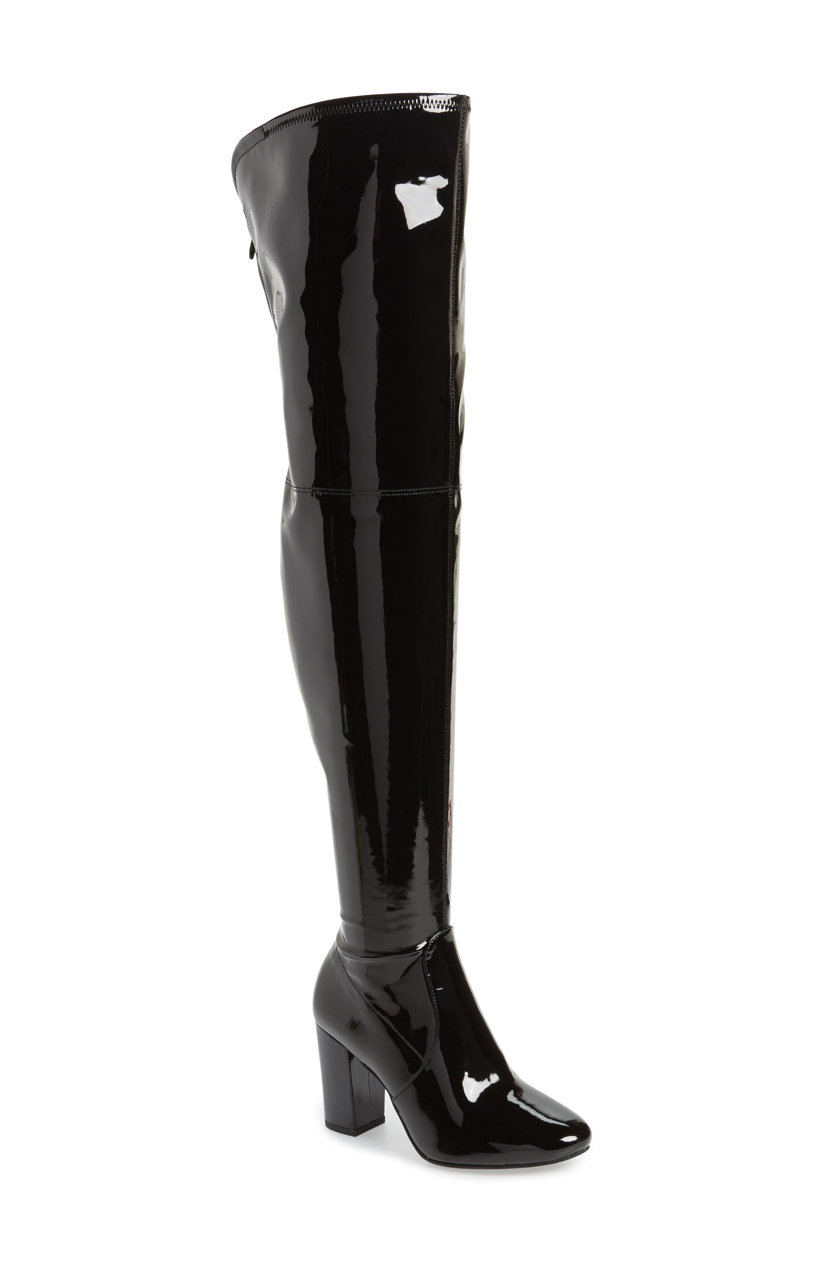 Angelica Over the Knee Boot,                         Main,                         color, Black Faux Patent
