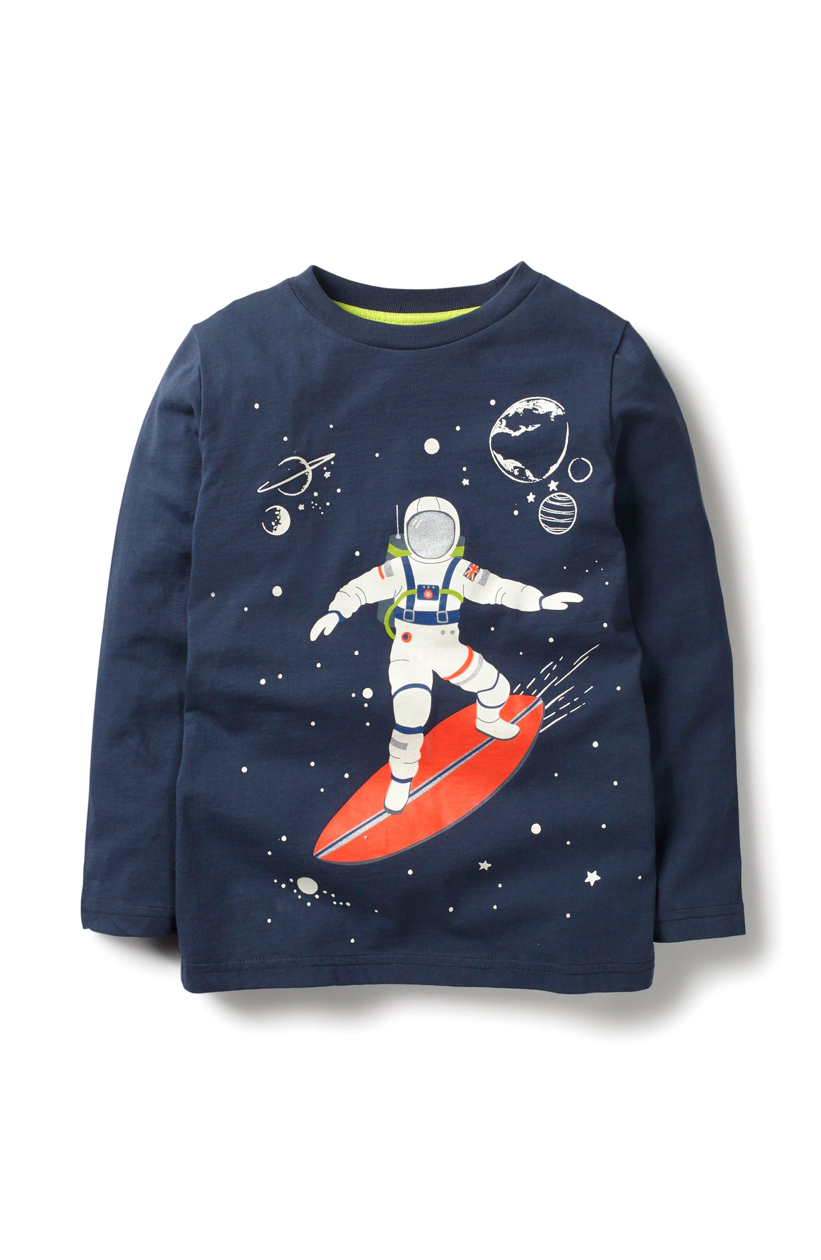 Glow in the Dark Space Long Sleeve T-Shirt,                         Main,                         color, School Navy Surfing Astronaut