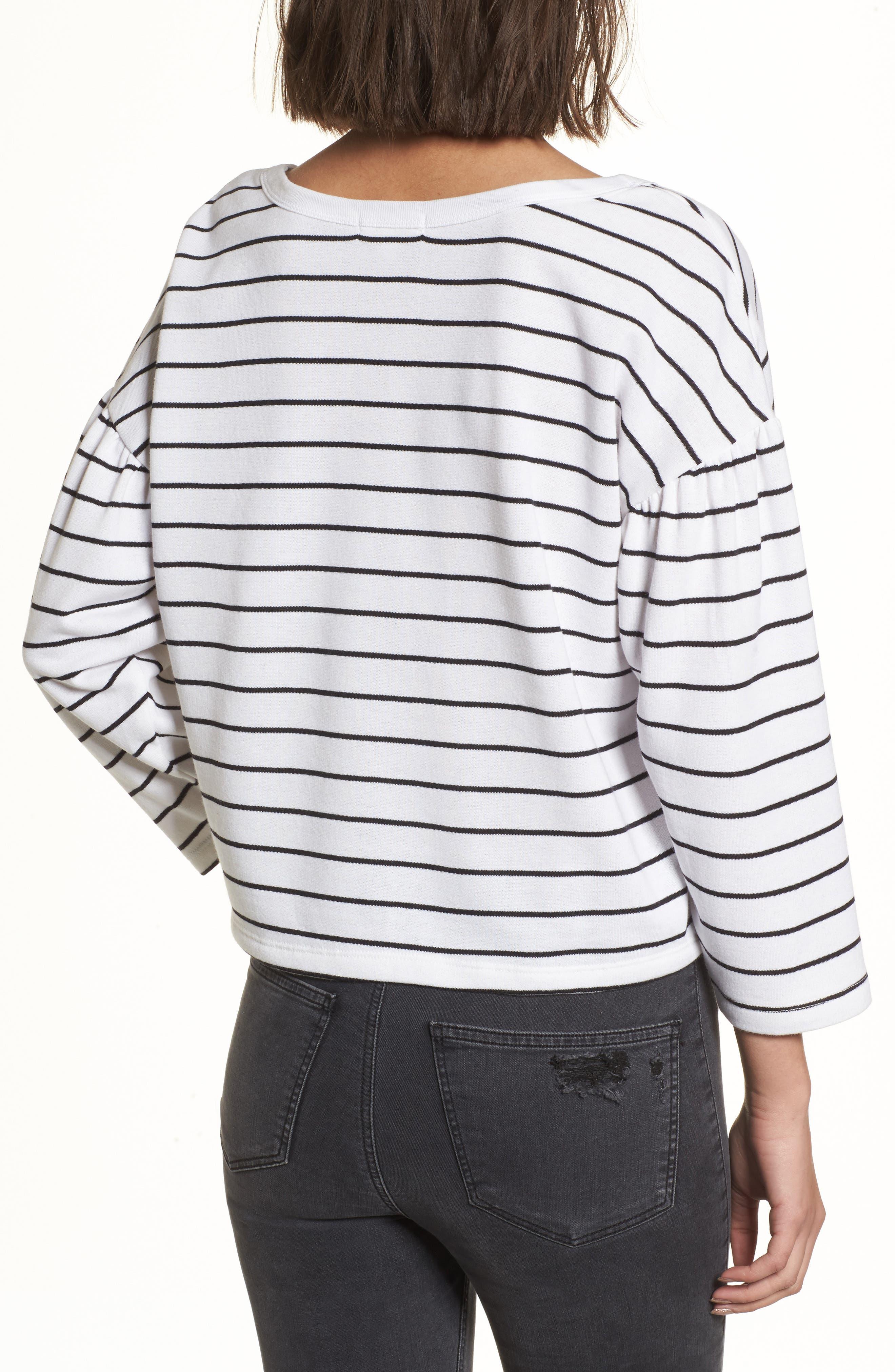 Drop Shoulder Stripe Sweater,                             Alternate thumbnail 2, color,                             White Liz Stripe