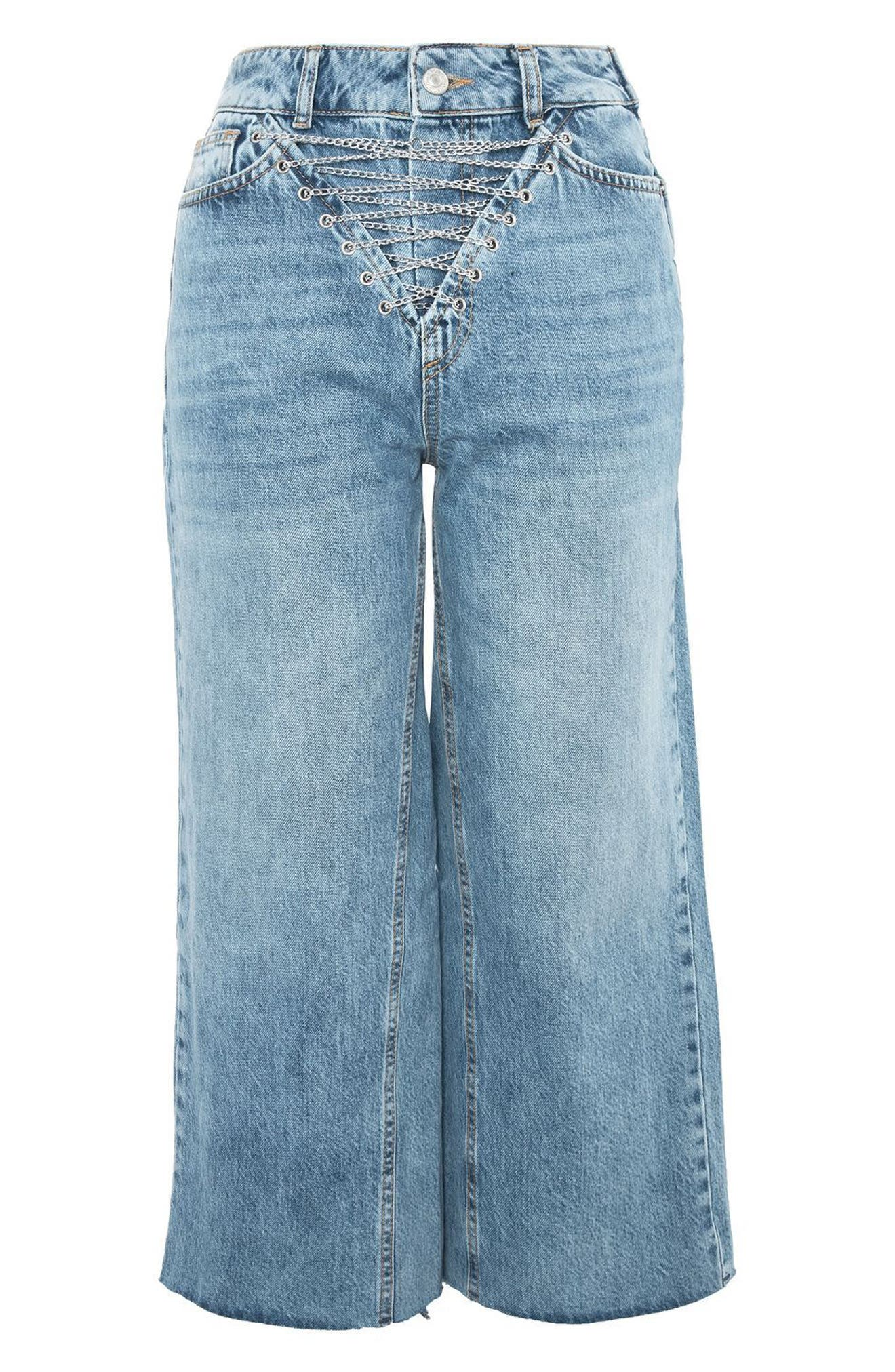 Chain Fly Wide Leg Crop Jeans,                             Alternate thumbnail 4, color,                             Mid Denim