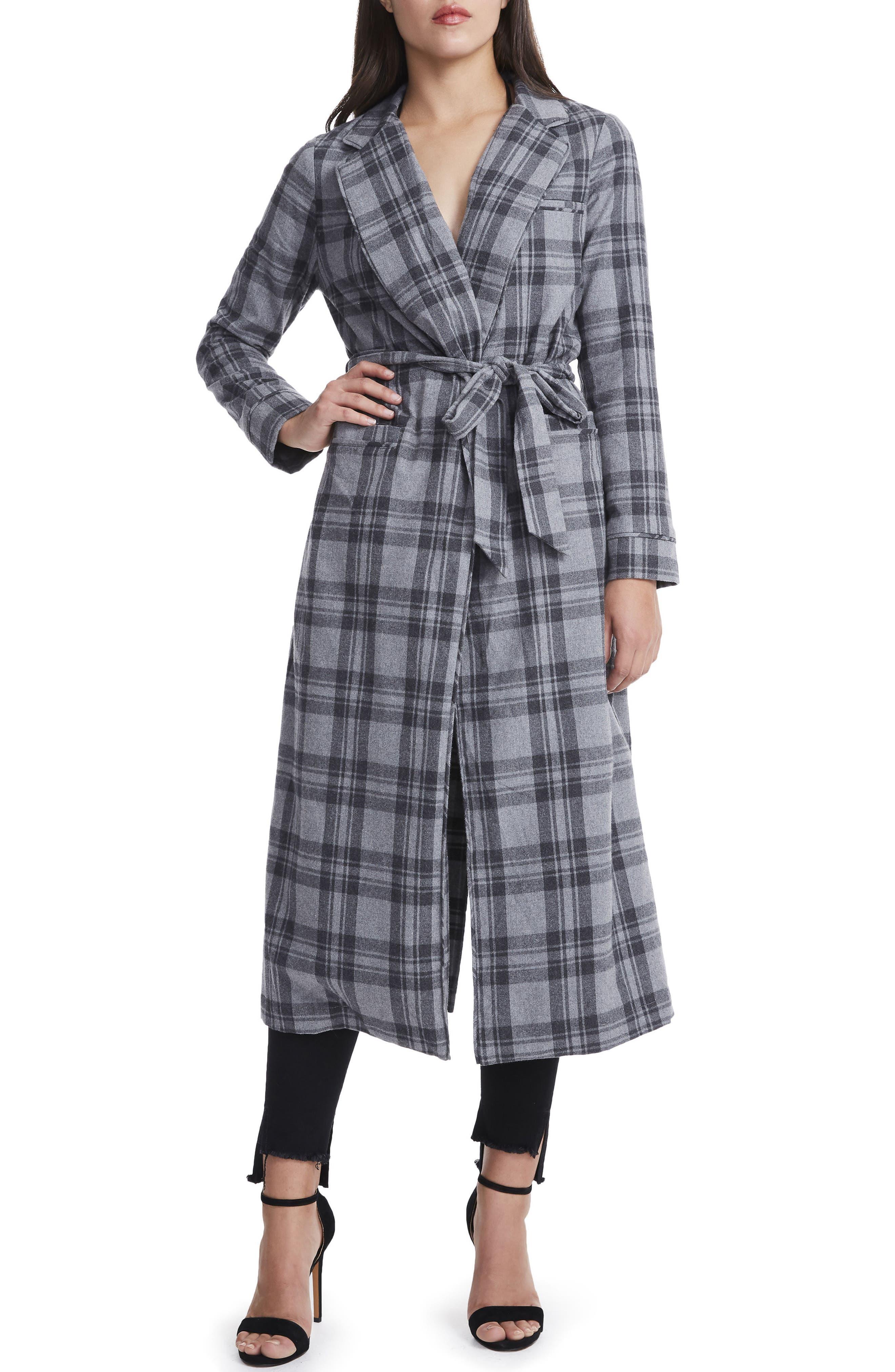 Sol Flannel Wrap Coat,                             Main thumbnail 1, color,                             Grey Plaid
