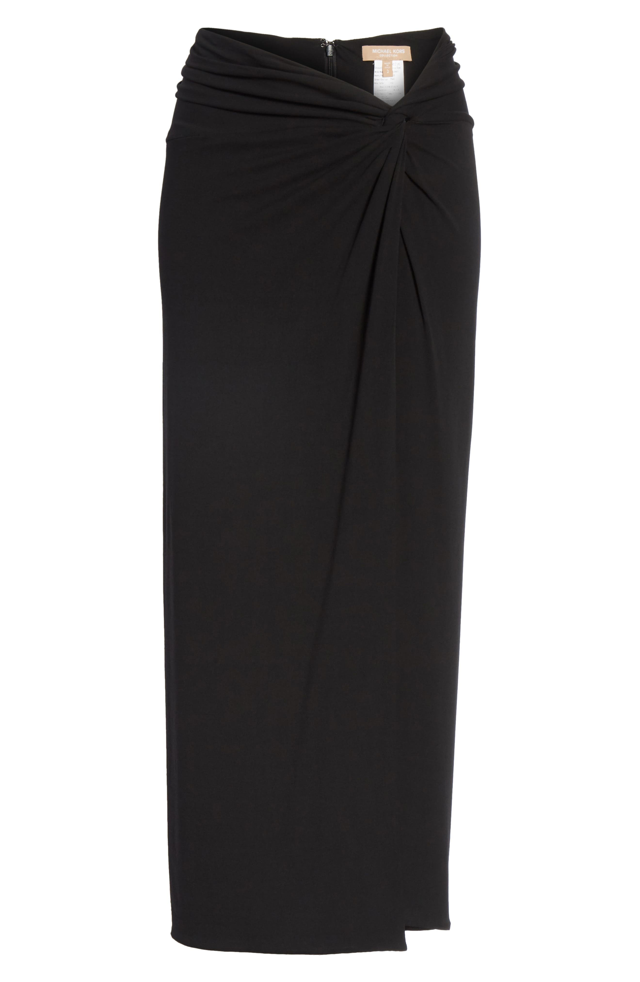 Sarong Midi Skirt,                             Alternate thumbnail 7, color,                             Black