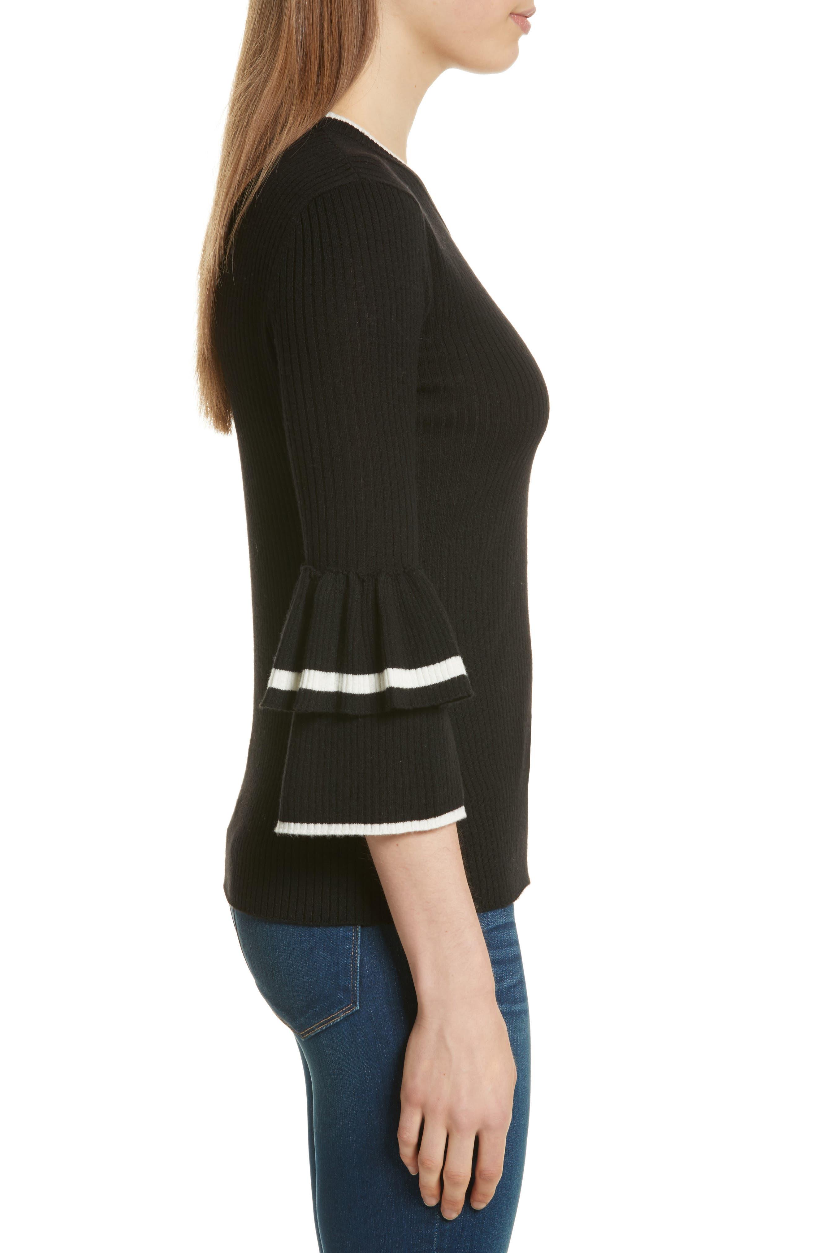 Double Ruffle Cuff Sweater,                             Alternate thumbnail 3, color,                             Noir Multi