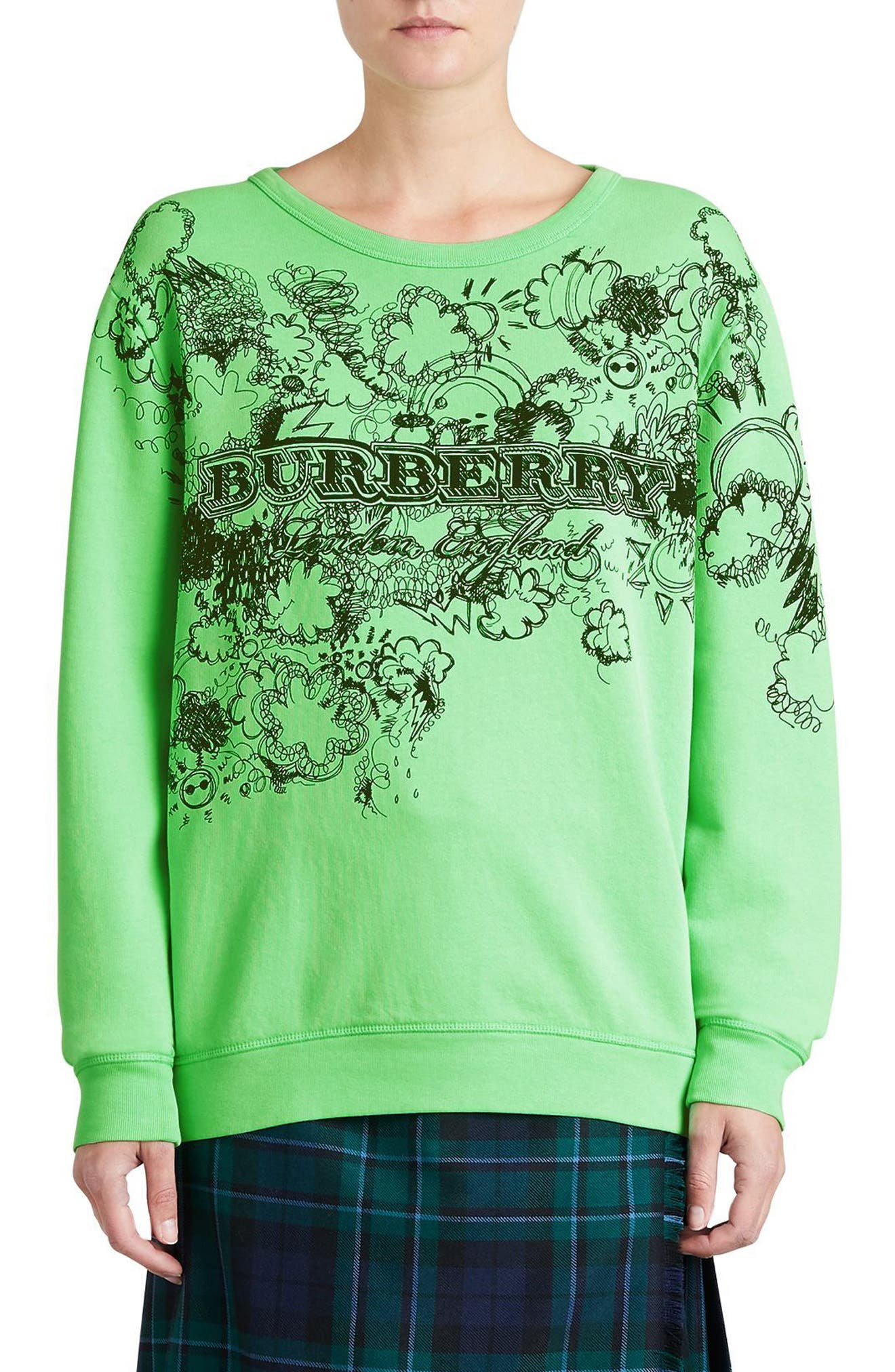 Madon Print Sweatshirt,                             Main thumbnail 1, color,                             Bright Apple Green