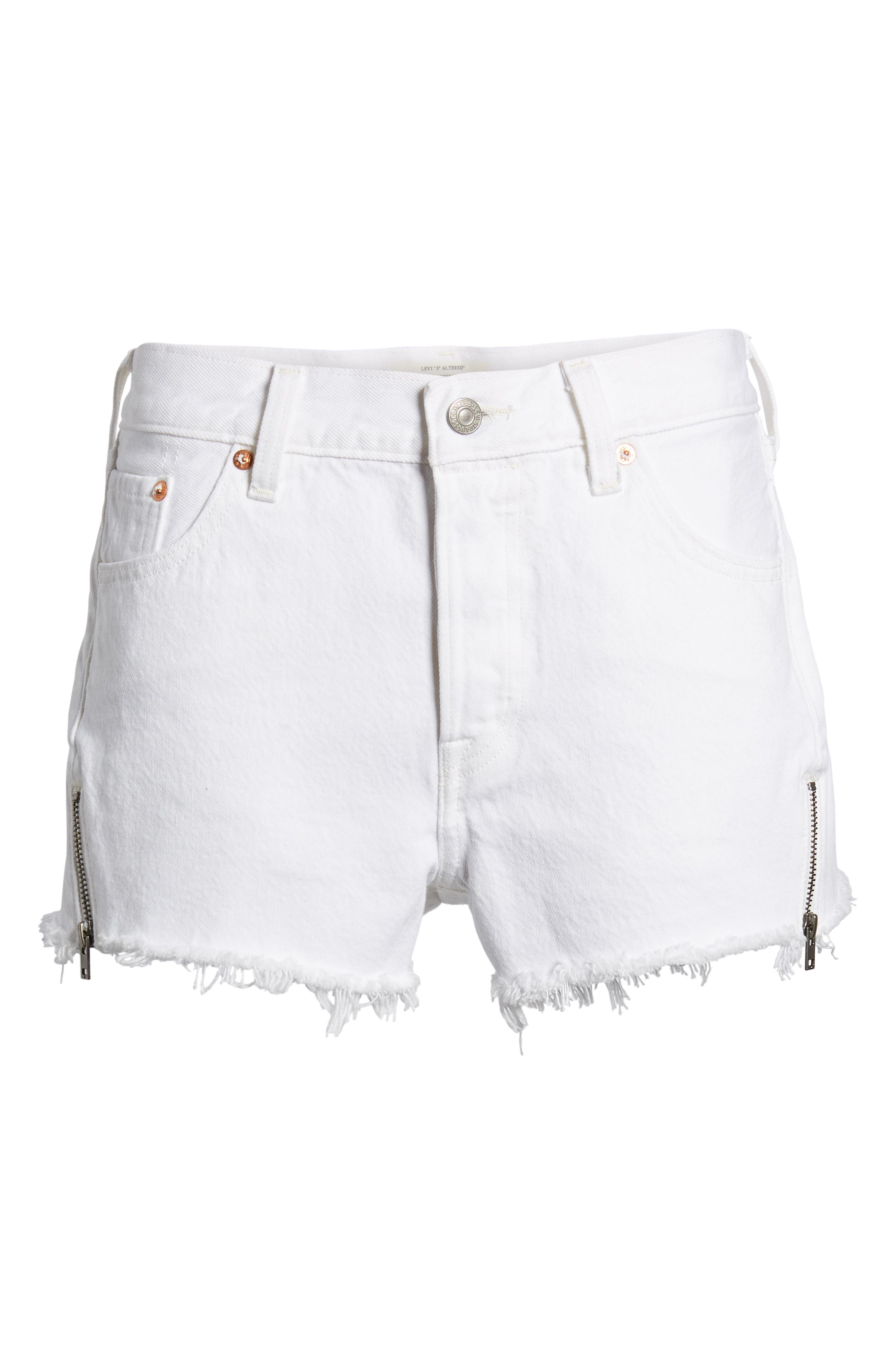 501<sup>®</sup> Altered Zip Denim Shorts,                             Alternate thumbnail 6, color,                             Seeing White