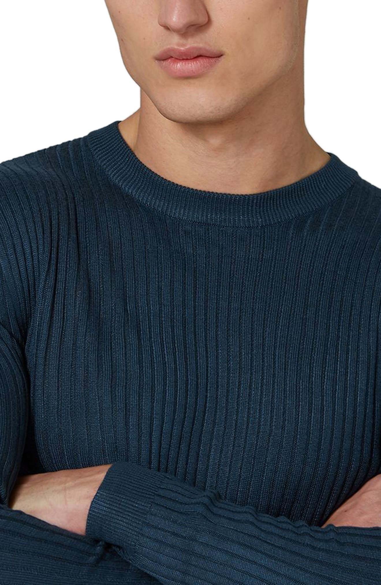 Alternate Image 3  - Topman Ribbed Muscle Fit Sweater