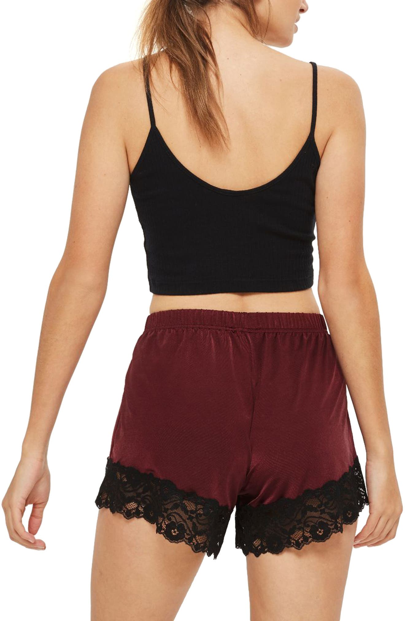 Jersey Satin & Lace Short Pajama Shorts,                             Alternate thumbnail 2, color,                             Berry Multi
