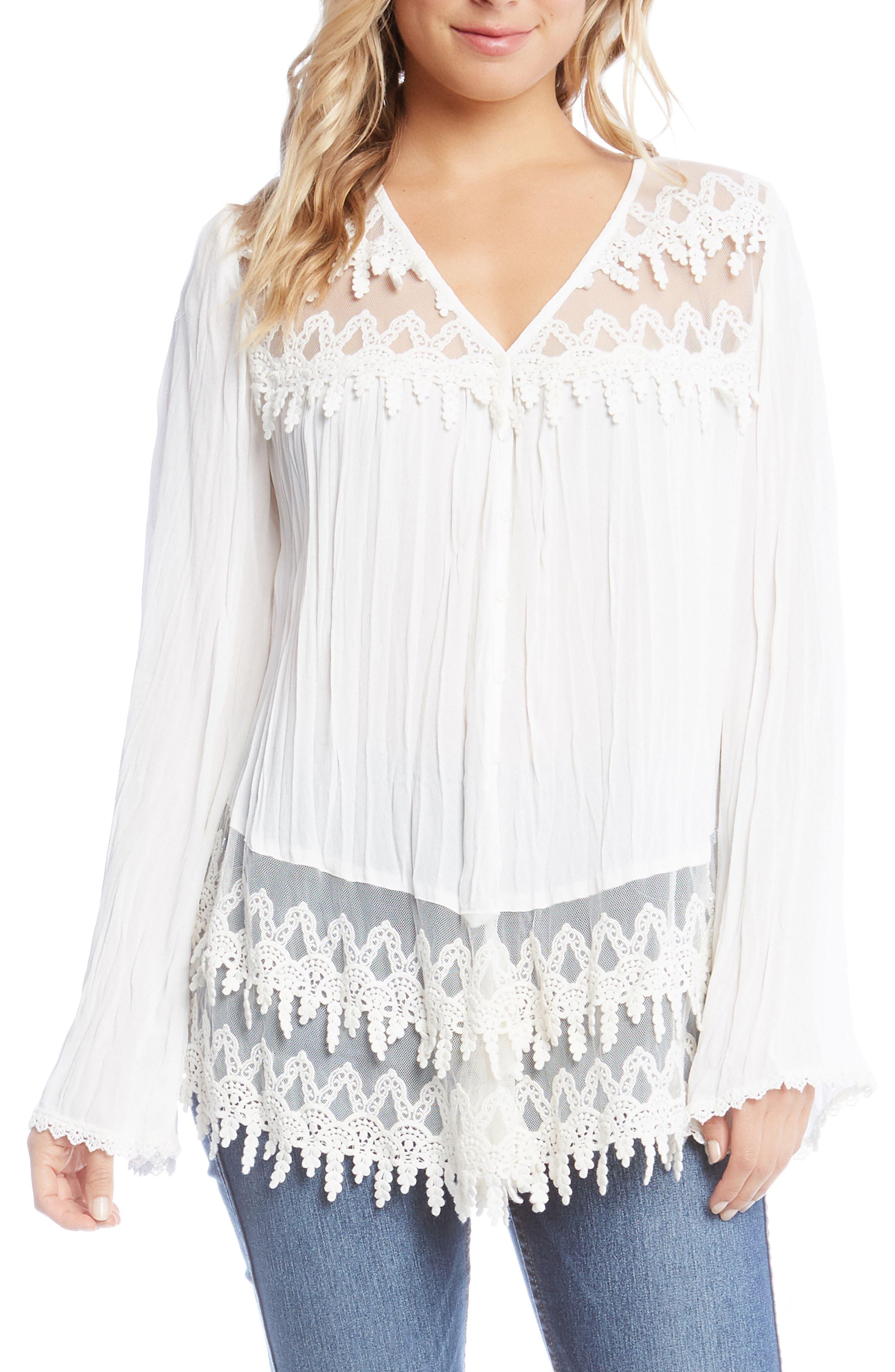 Lace Trim Top,                         Main,                         color, Off White