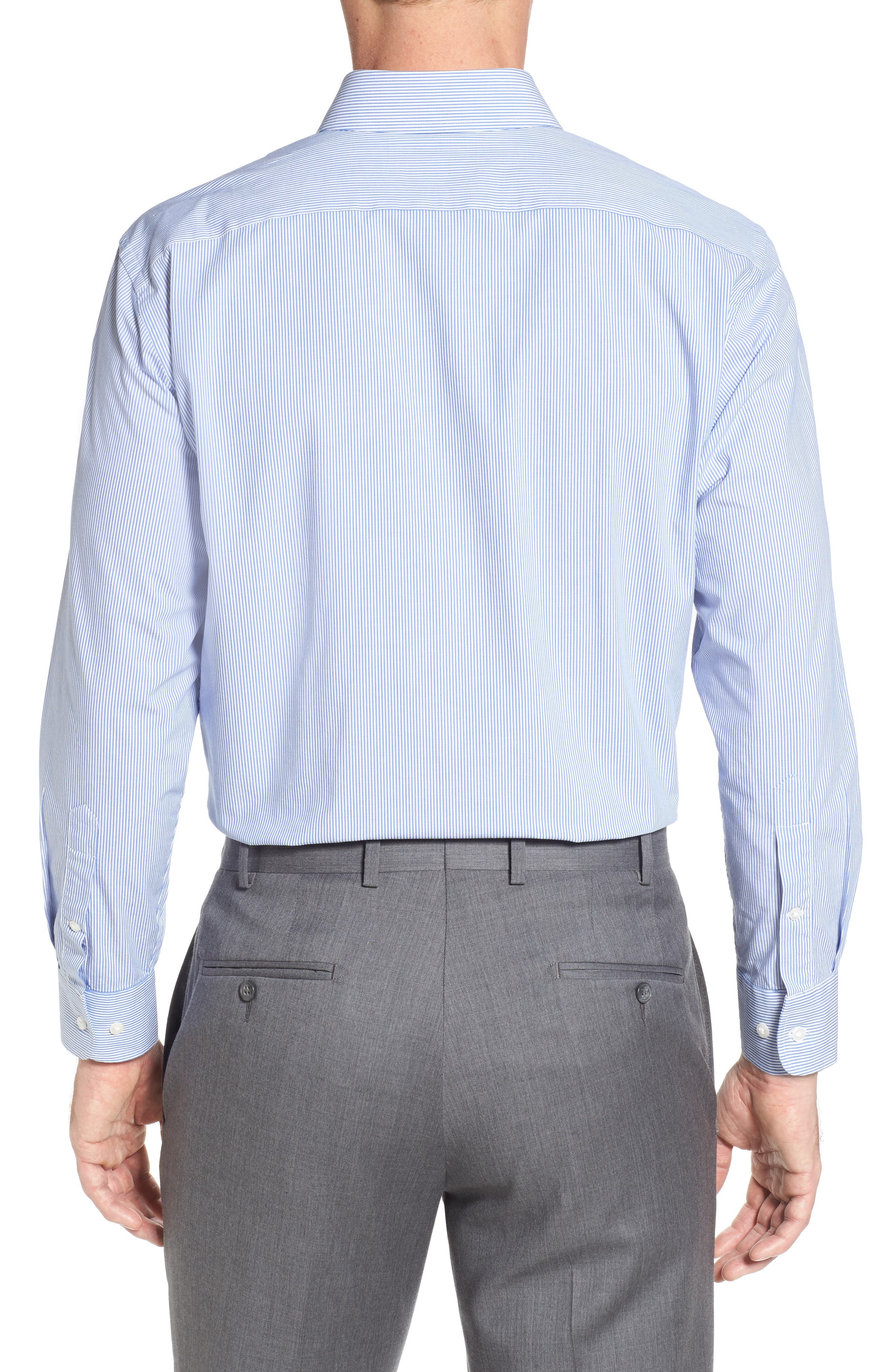 Tech-Smart Traditional Fit Stretch Stripe Dress Shirt,                             Alternate thumbnail 3, color,                             Blue Yonder