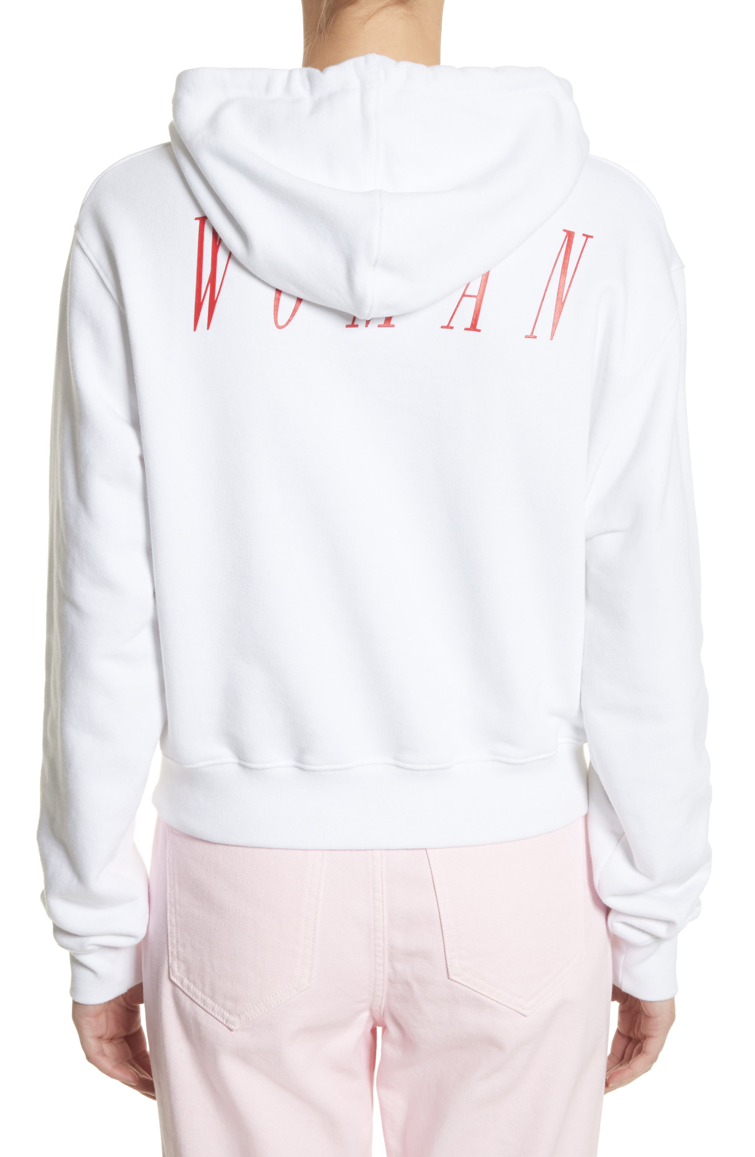 OFFF Crop Hoodie,                             Alternate thumbnail 3, color,                             White Red