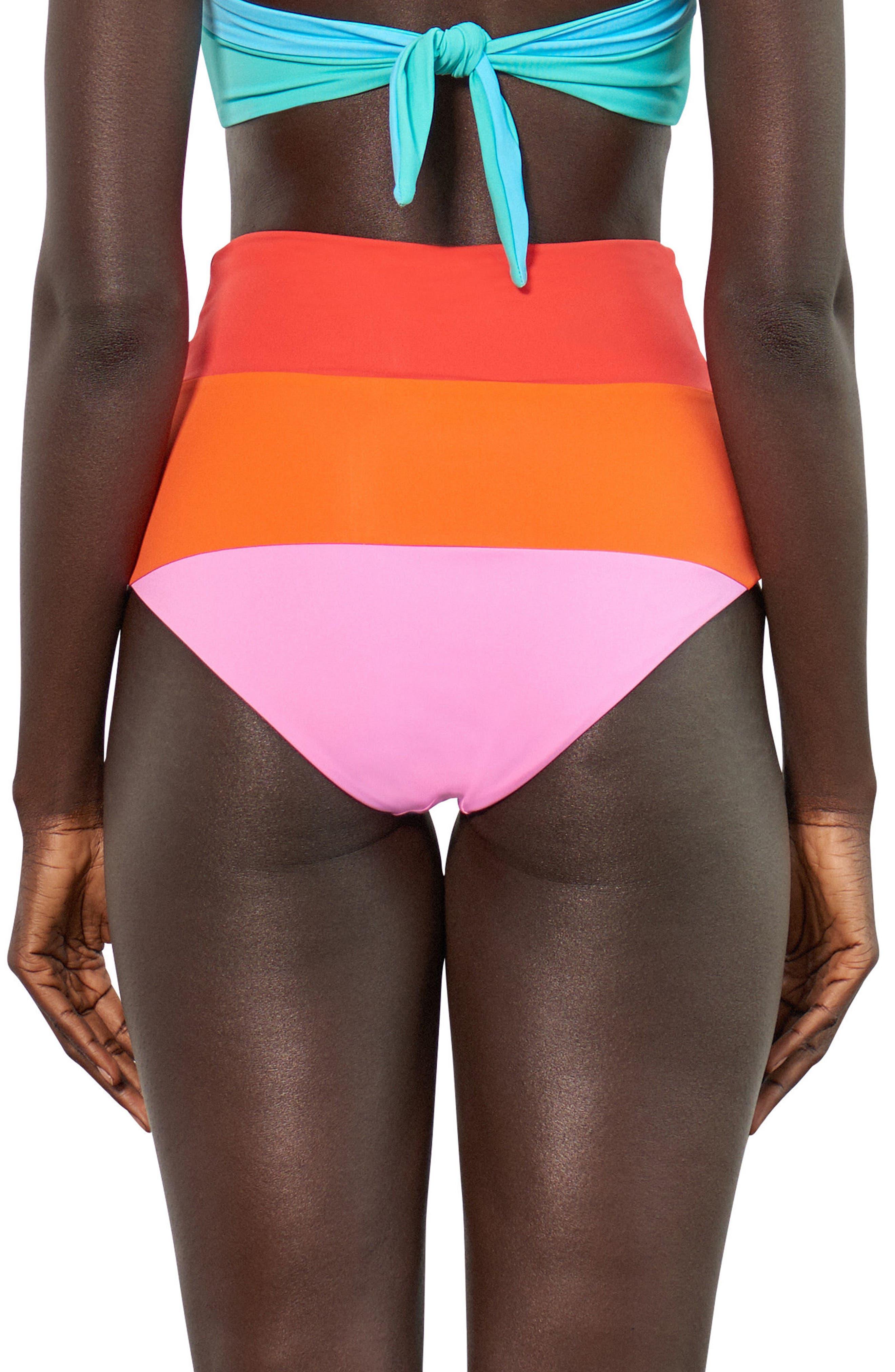 Lydia High-Waist Bikini Bottoms,                             Alternate thumbnail 2, color,                             Orange Multi