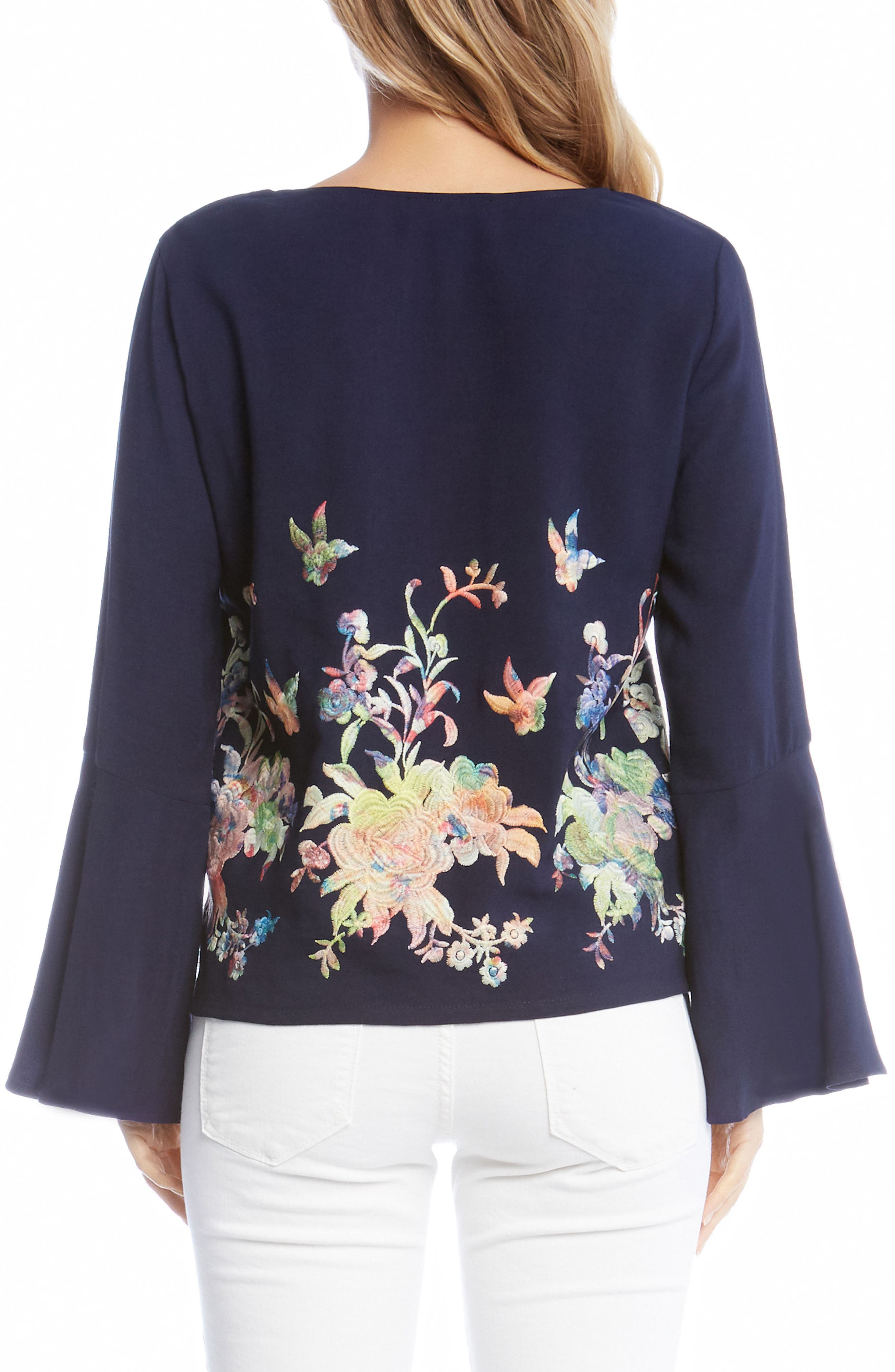 Embroidered Bell Sleeve Top,                             Alternate thumbnail 3, color,                             Multi-Colored
