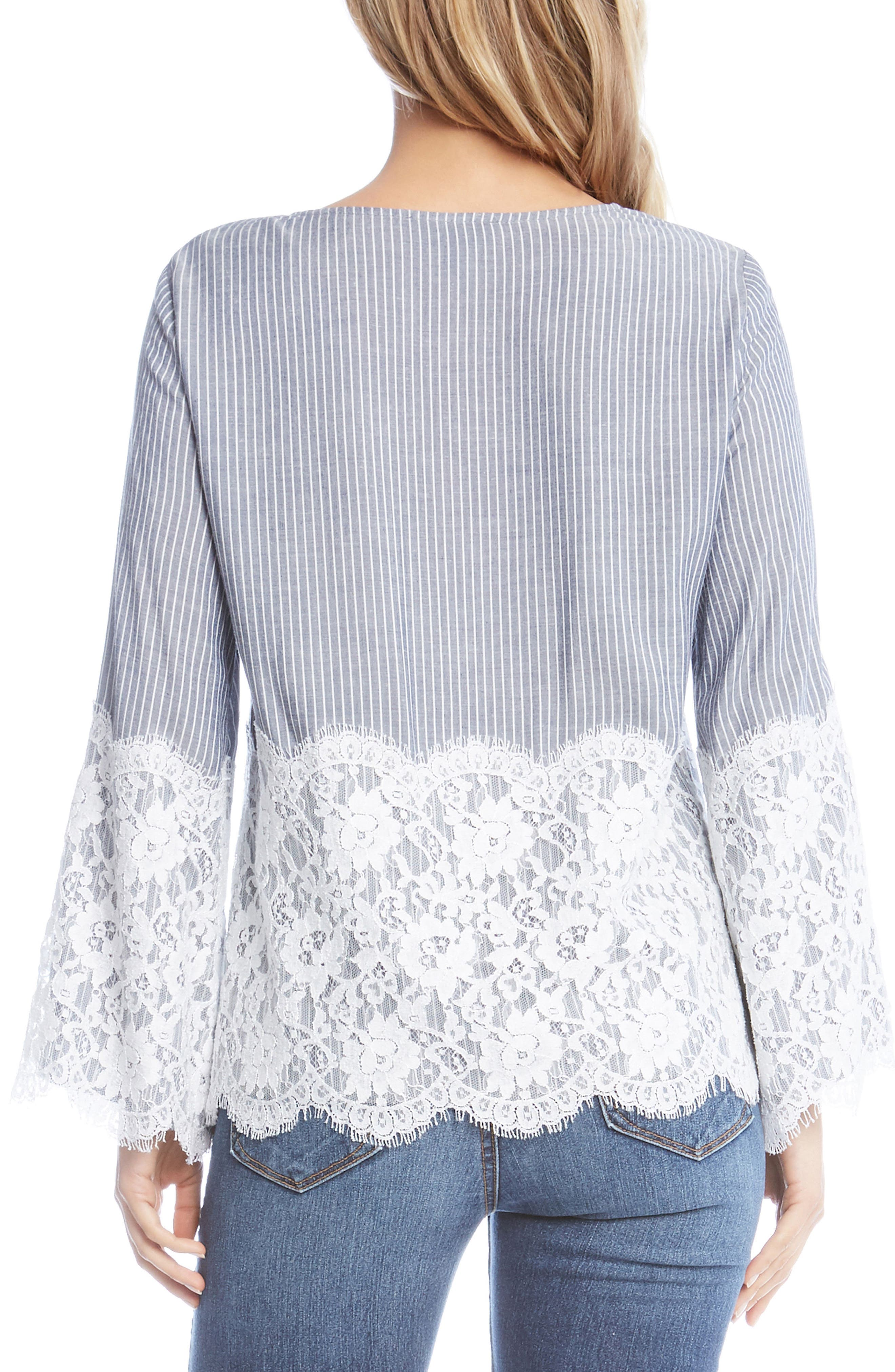 Chambray Stripe Lace Top,                             Alternate thumbnail 3, color,                             Striped