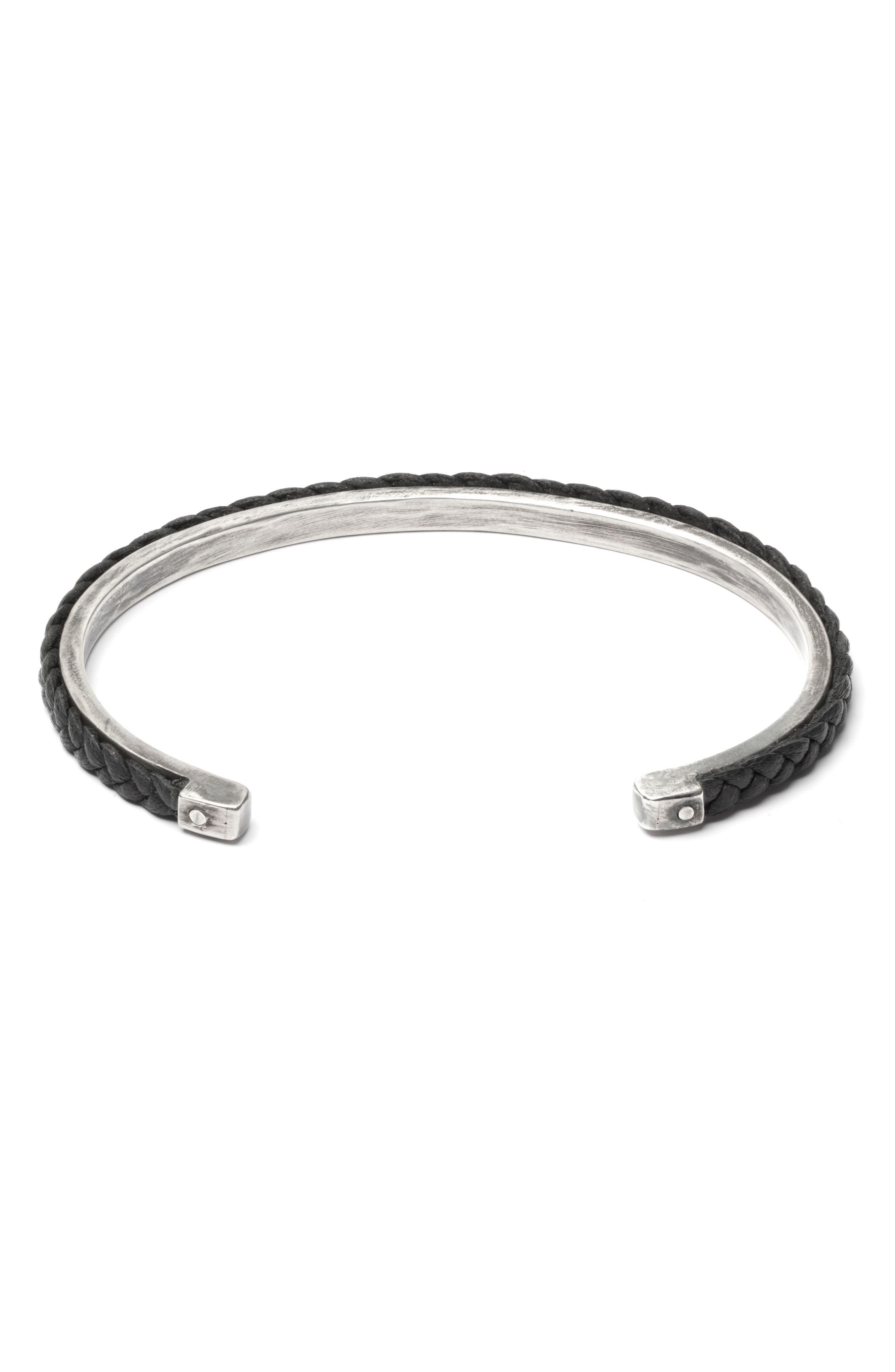 Braided Cuff,                         Main,                         color, Black/Silver