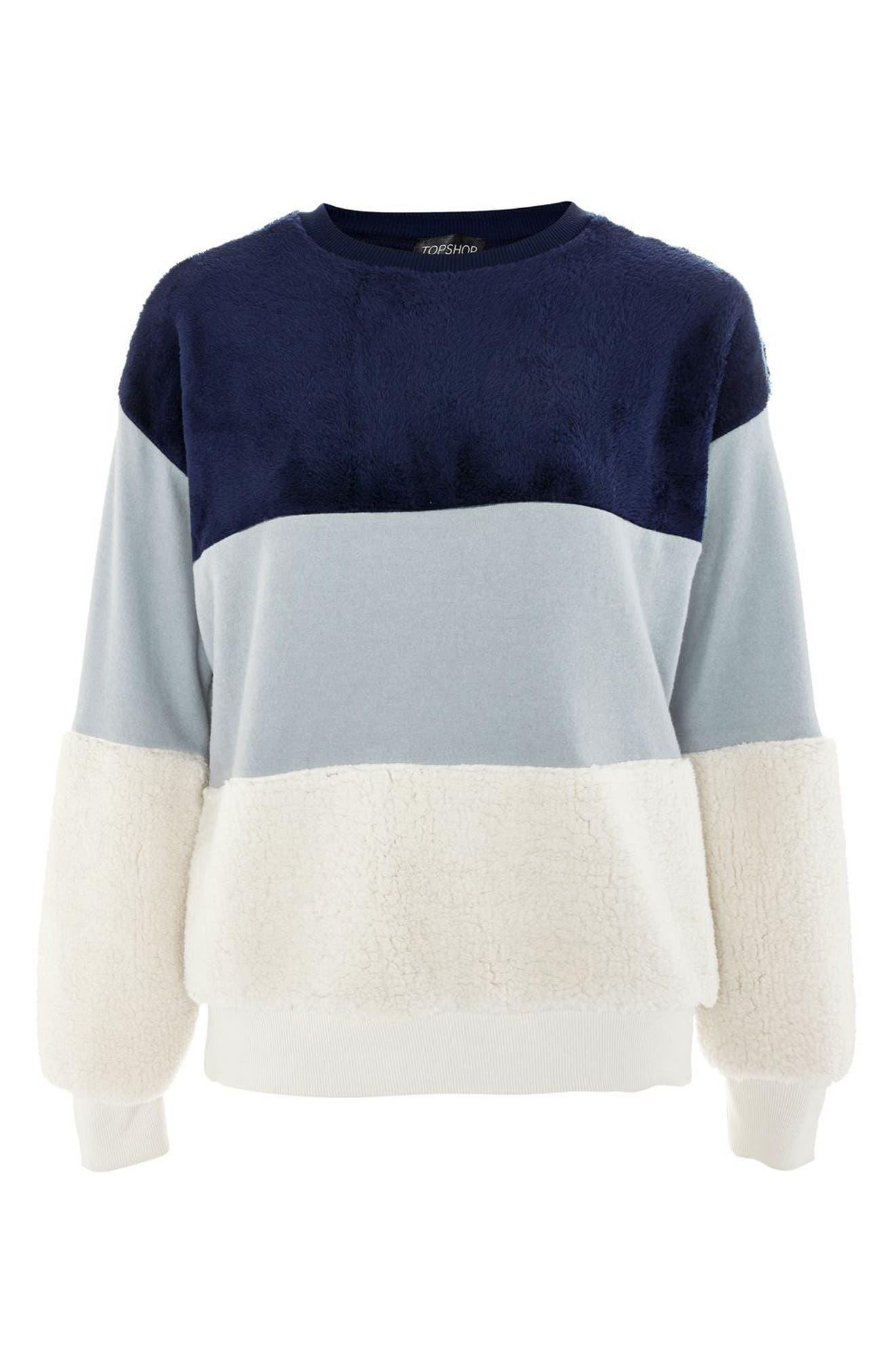Alternate Image 4  - Topshop Colorblock Fleece Sweatshirt