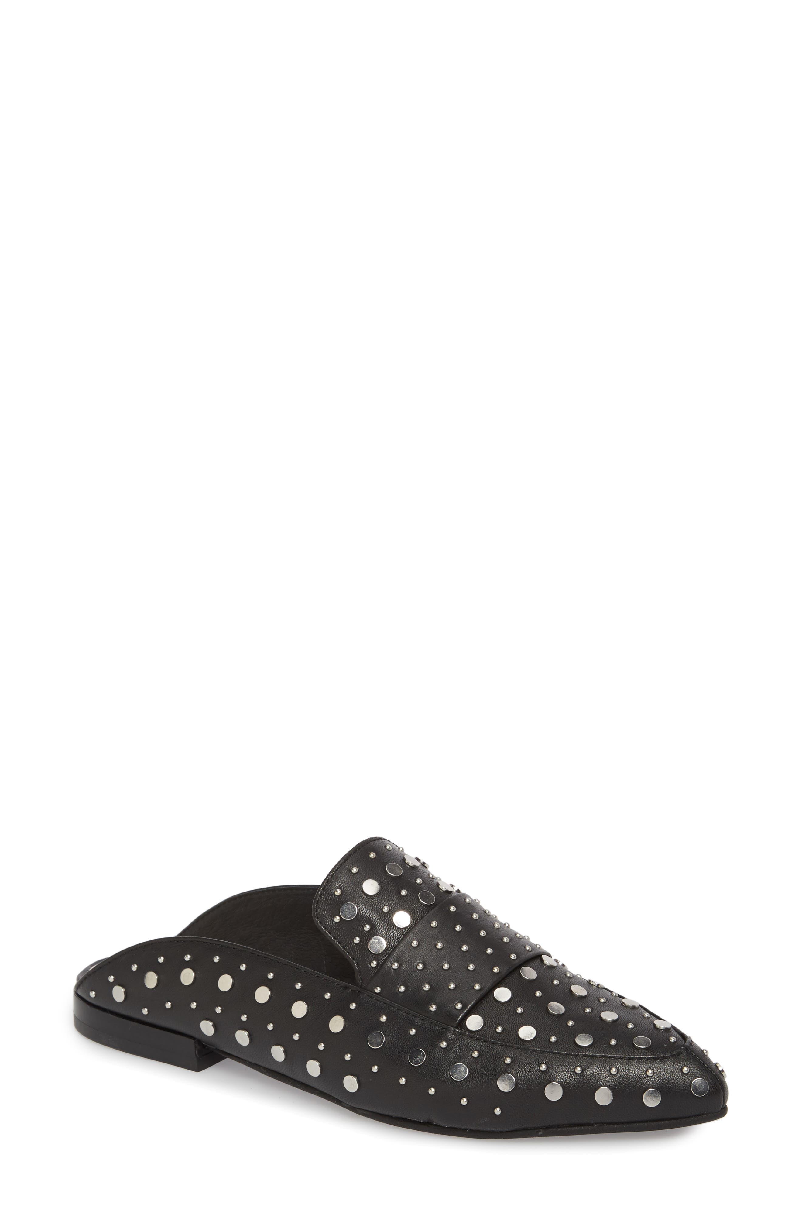 Charlie Studded Loafer Mule,                             Main thumbnail 1, color,                             Black Leather