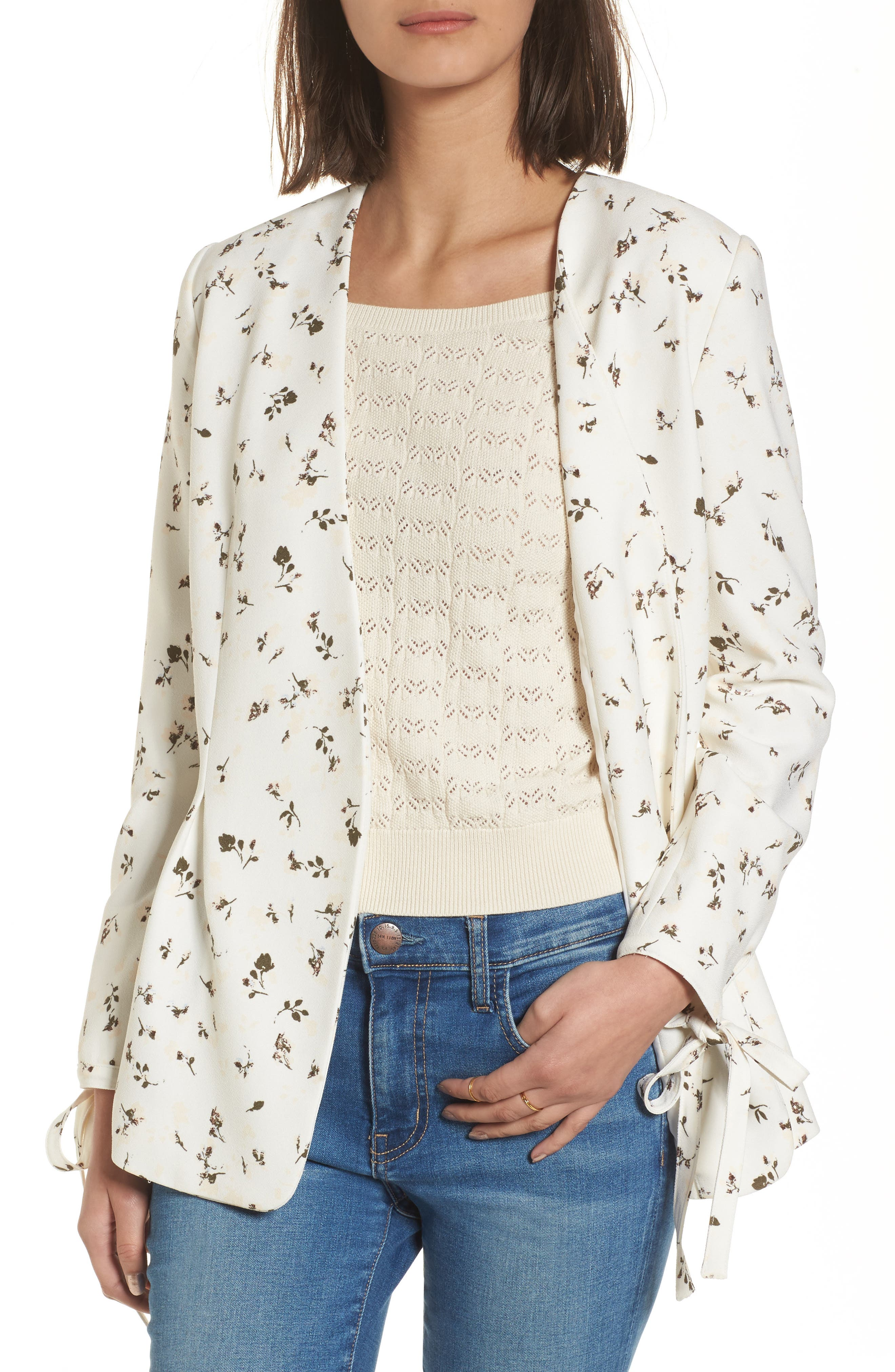 Tie Sleeve Blazer,                             Main thumbnail 1, color,                             Ivory Cotton Floral