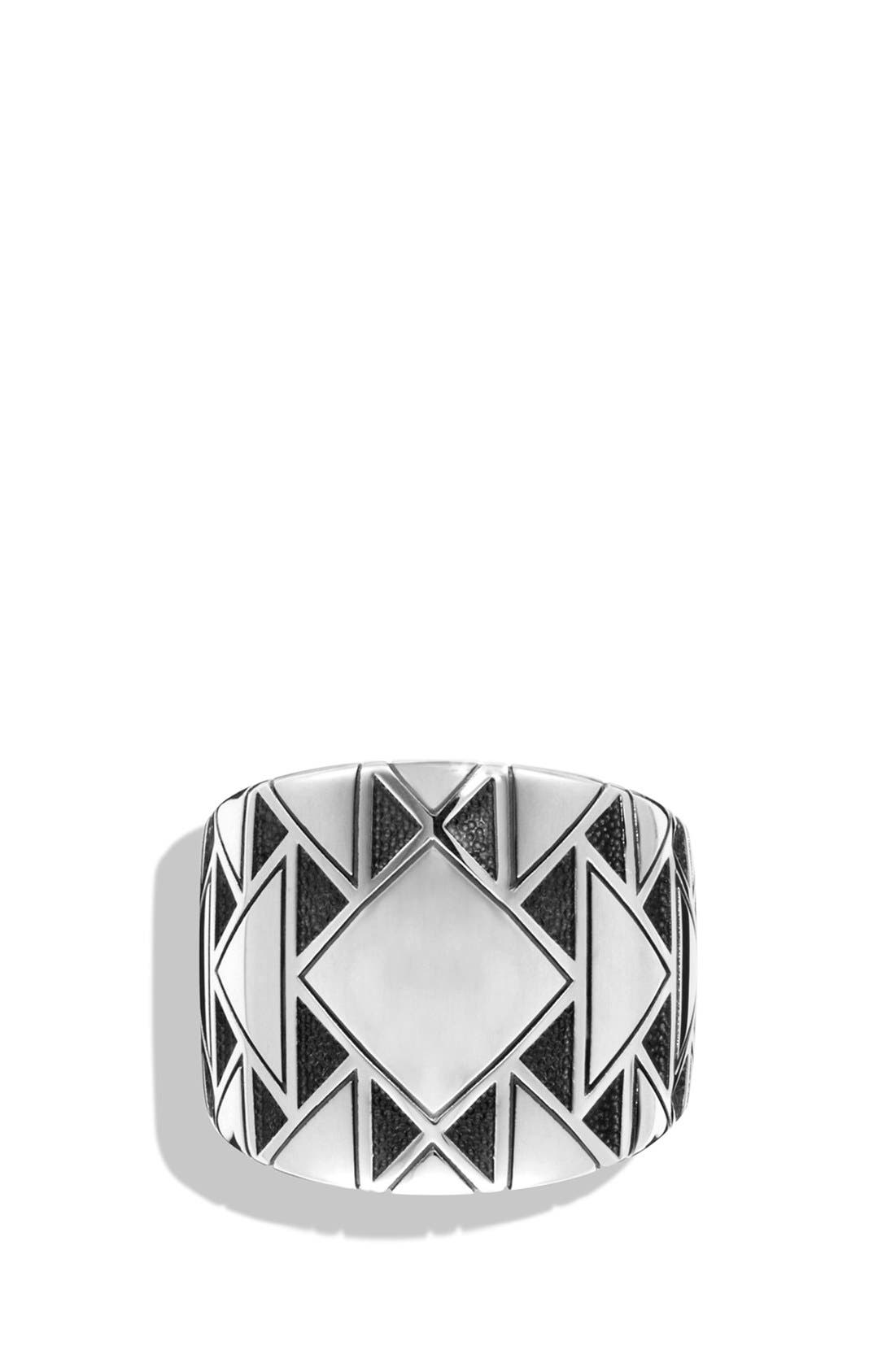 Southwest Signet Ring with Black Diamonds,                             Alternate thumbnail 2, color,                             Silver
