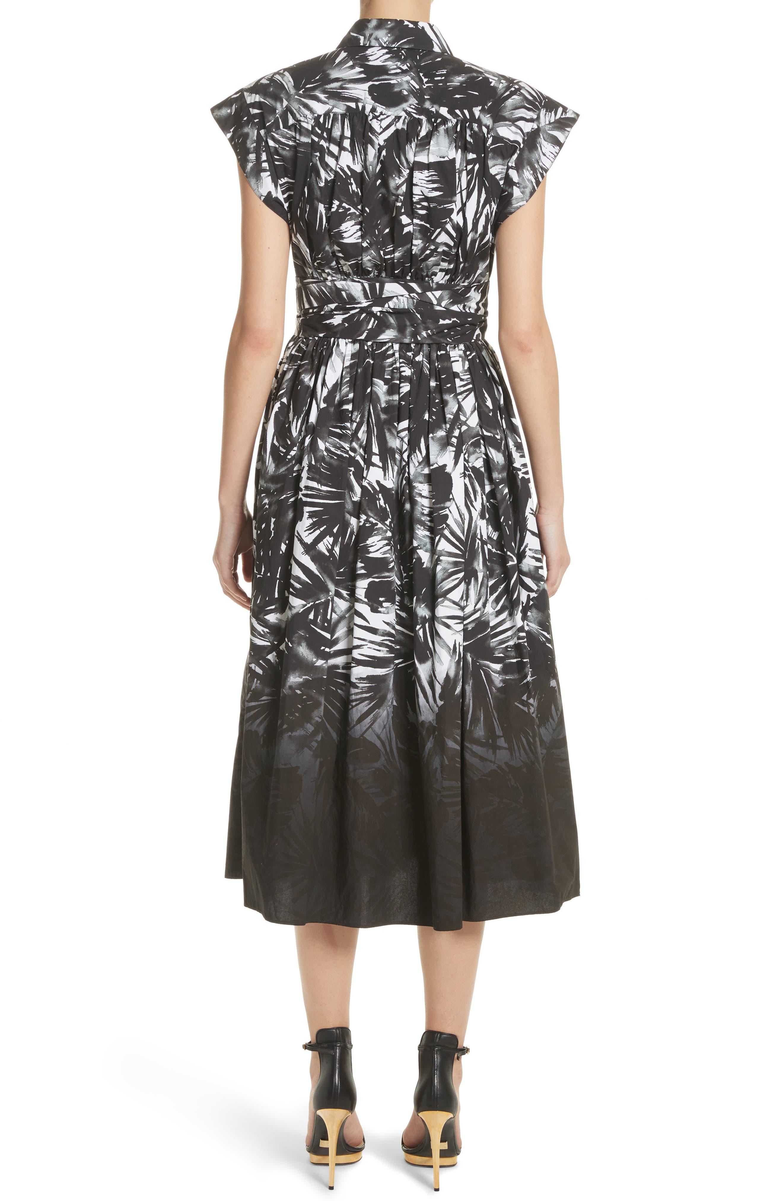 Dip Dye Wrap Waist Shirtdress,                             Alternate thumbnail 3, color,                             Black Multi