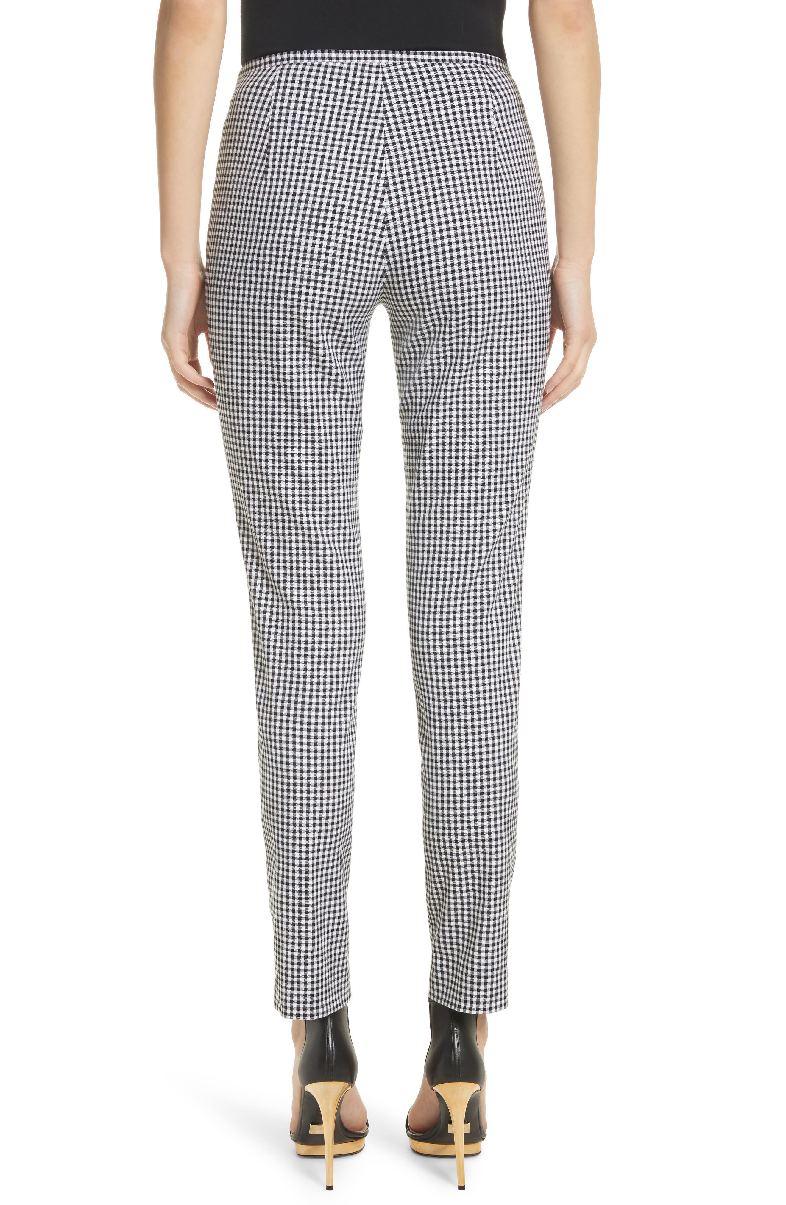 Gingham Stretch Cotton Pants,                             Alternate thumbnail 3, color,                             Black / White