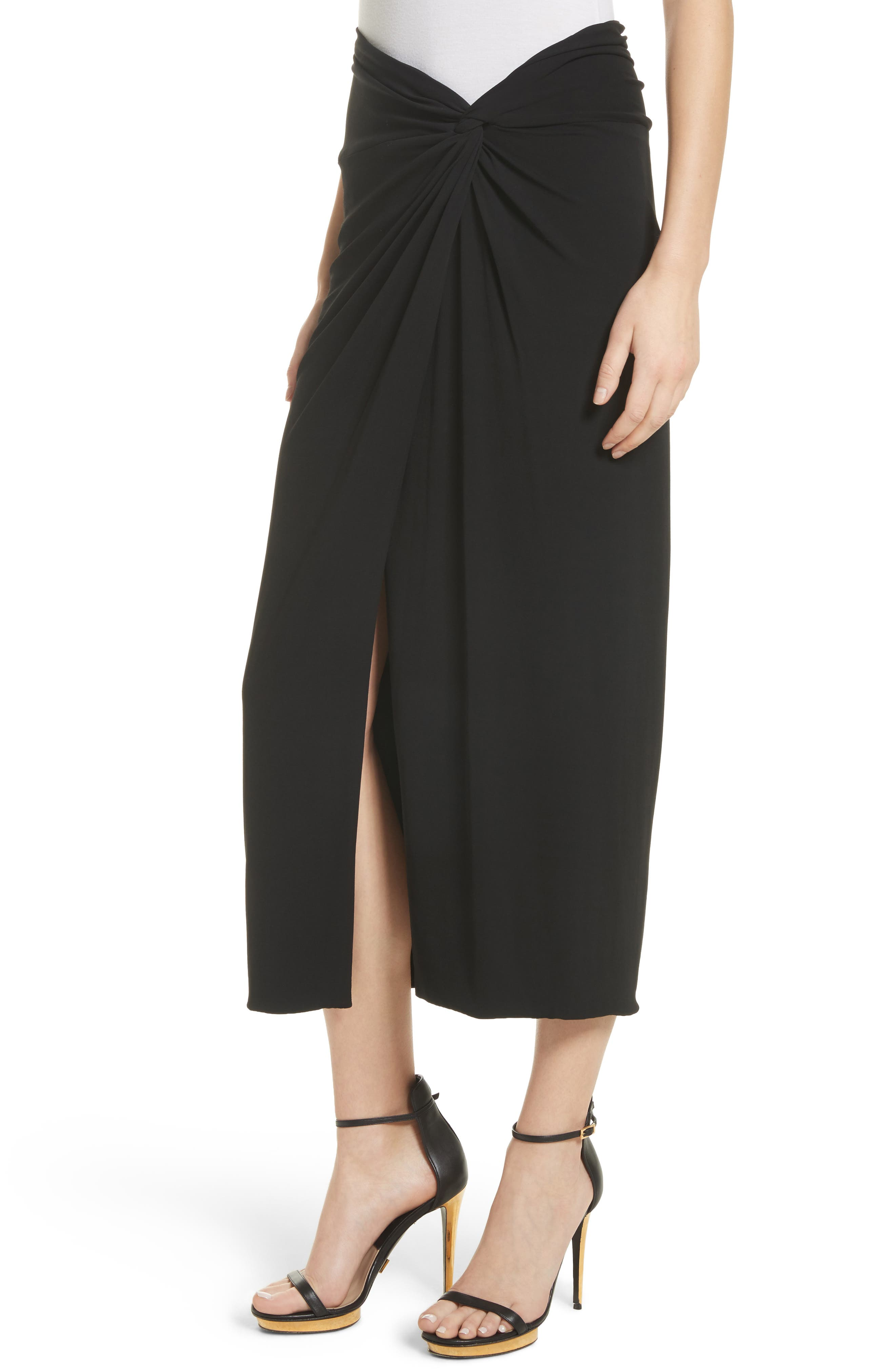 Sarong Midi Skirt,                             Alternate thumbnail 4, color,                             Black