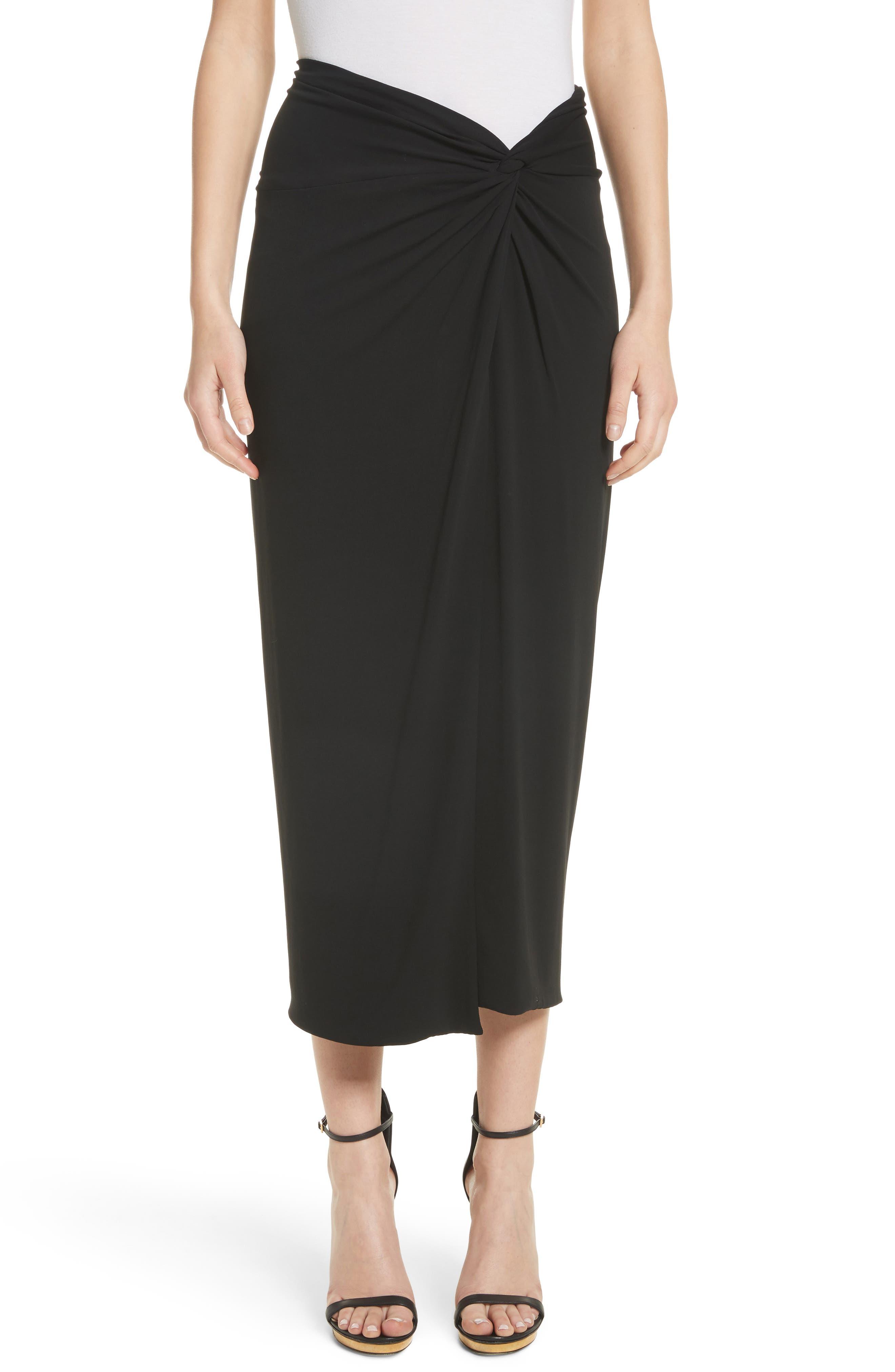 Sarong Midi Skirt,                         Main,                         color, Black