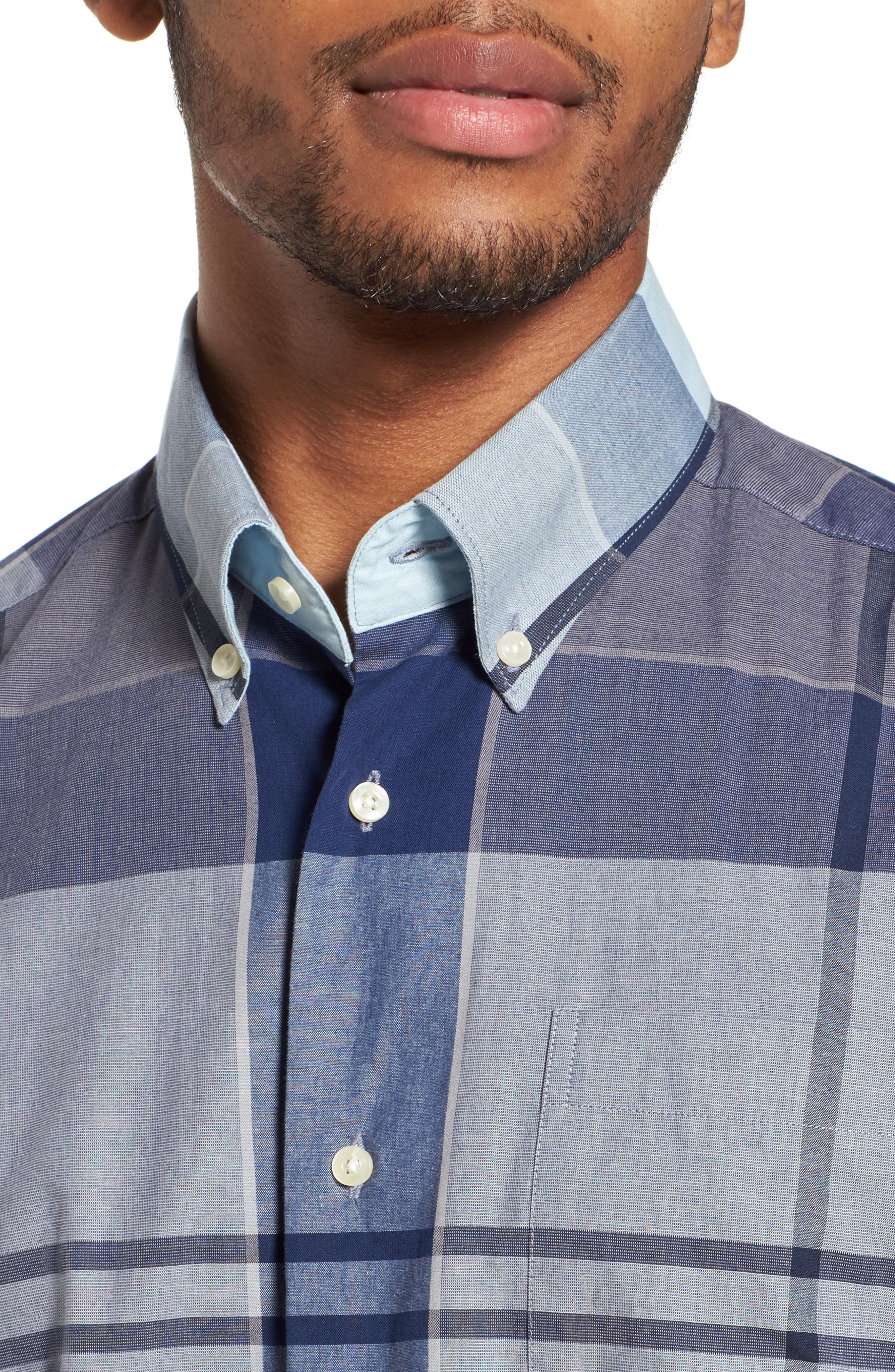 Arndale Tailored Fit Plaid Sport Shirt,                             Alternate thumbnail 4, color,                             Chambray
