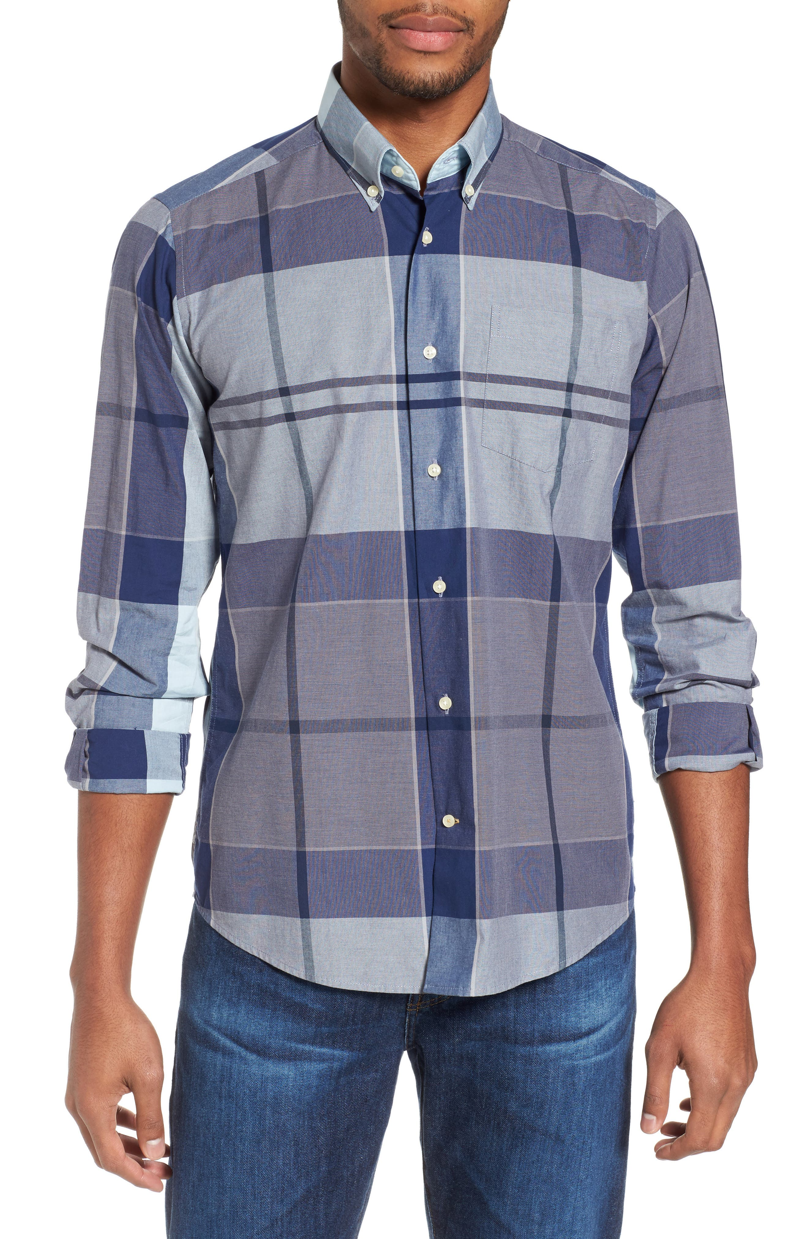Arndale Tailored Fit Plaid Sport Shirt,                             Main thumbnail 1, color,                             Chambray